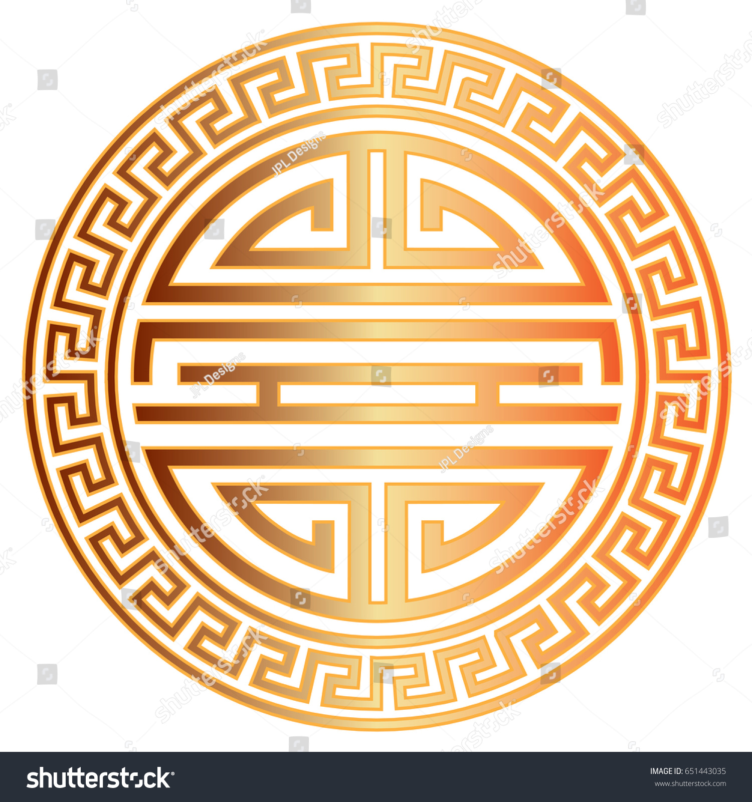 Chinese Longevity Gold Symbol Character Scroll Stock Vector ...
