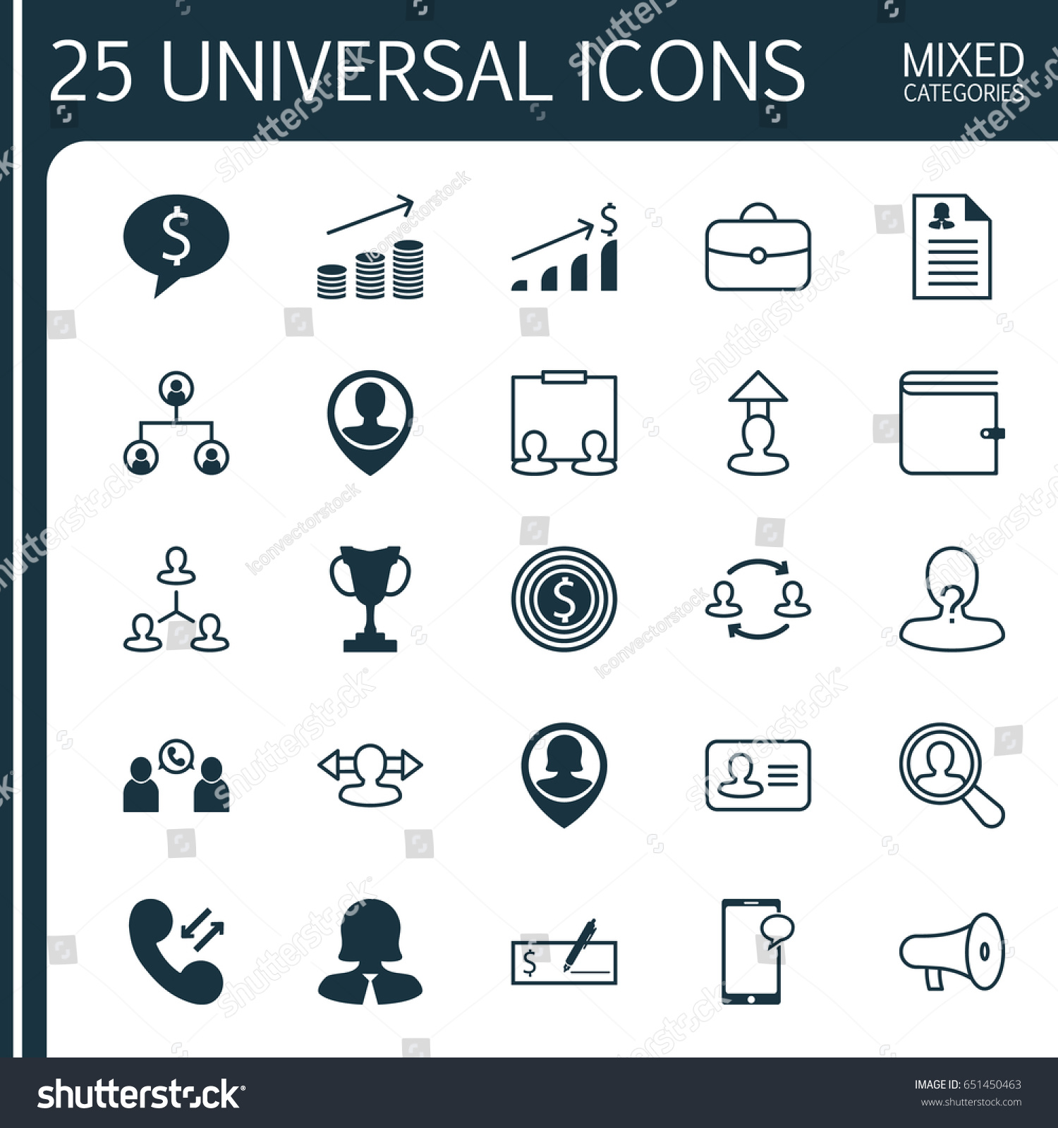 Management Icons Set Collection Employee Location Stock Vector