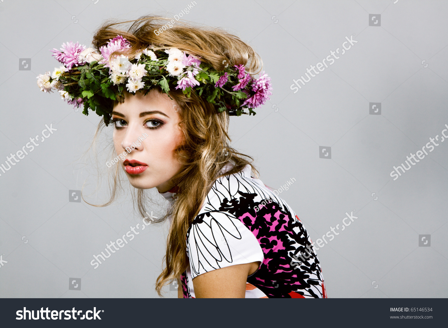 Portrait beautiful fashion model flower crown stock photo edit now portrait of a beautiful fashion model in flower crown izmirmasajfo