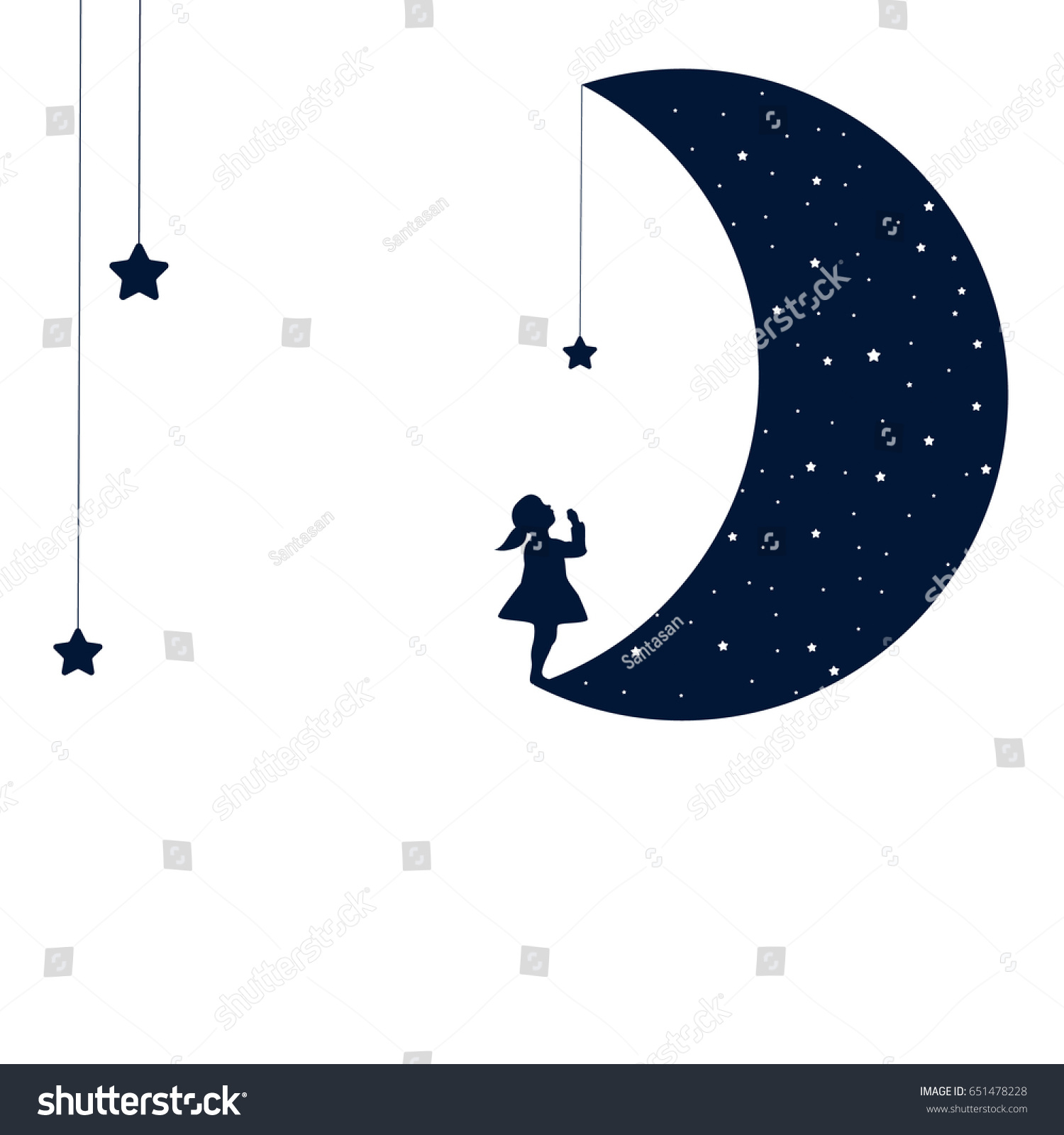 Moon Dreaming Baby Girl Concept Idea Stock Vector Royalty Free