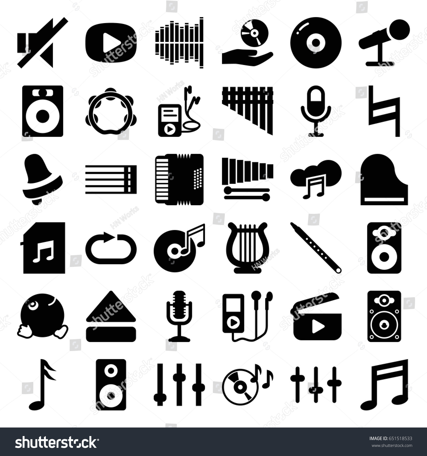 Music Icons Set Set 36 Music Stock Vector 651518533 Shutterstock