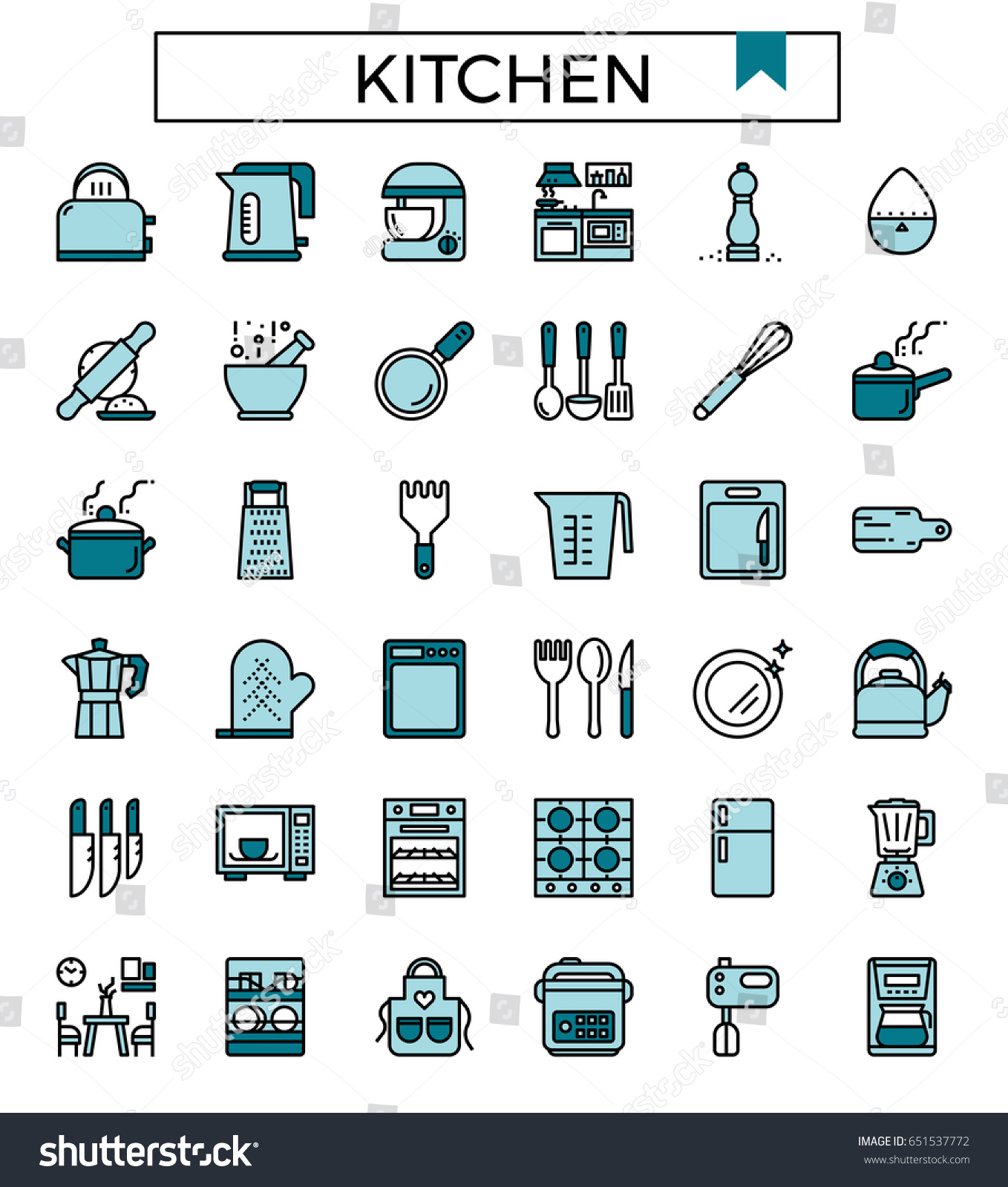 Kitchen Icon Fill Color Vector Illustration Stock Vector (Royalty ...