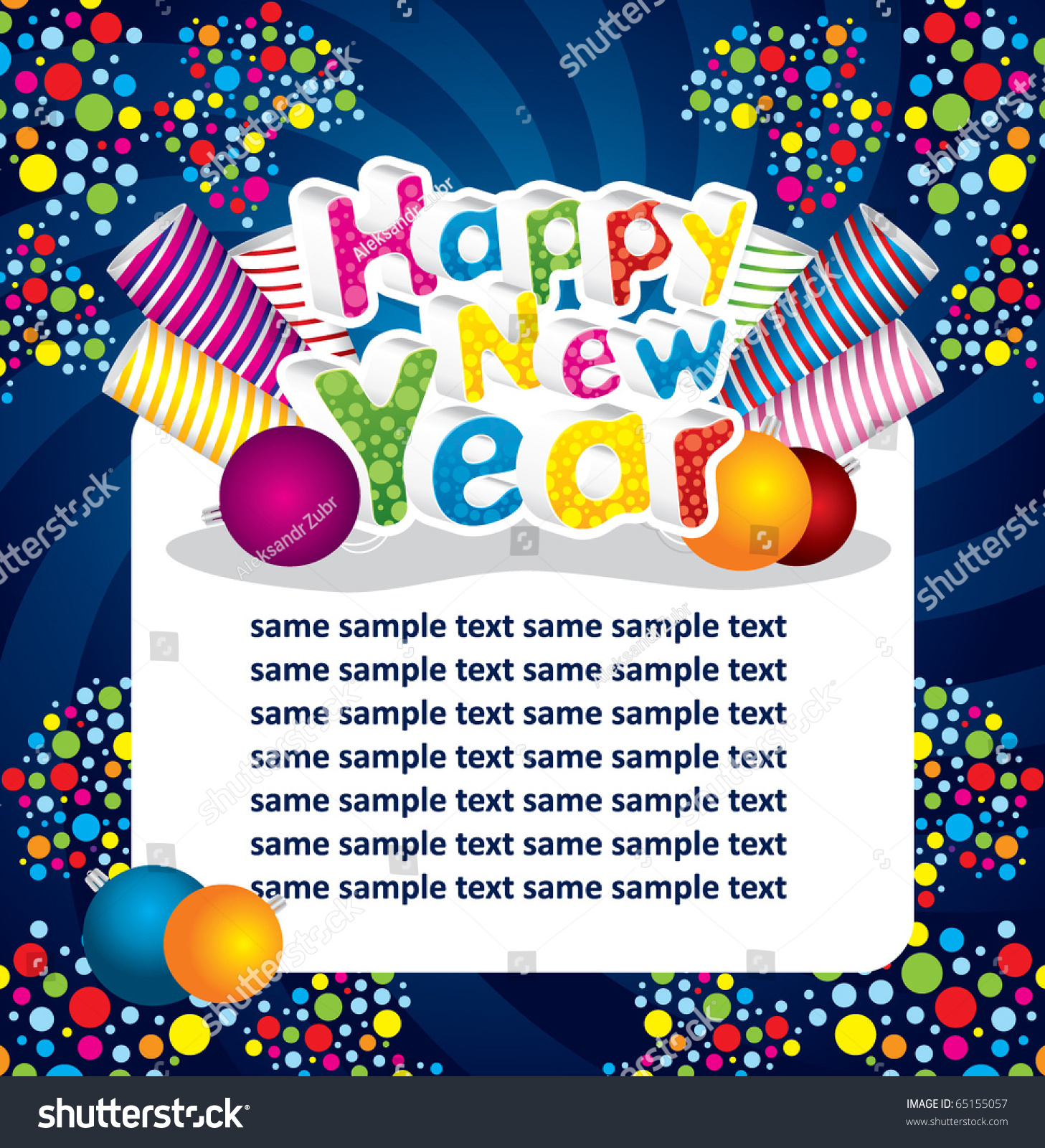 Happy New Year Greeting Card Stock Vector 65155057 Shutterstock