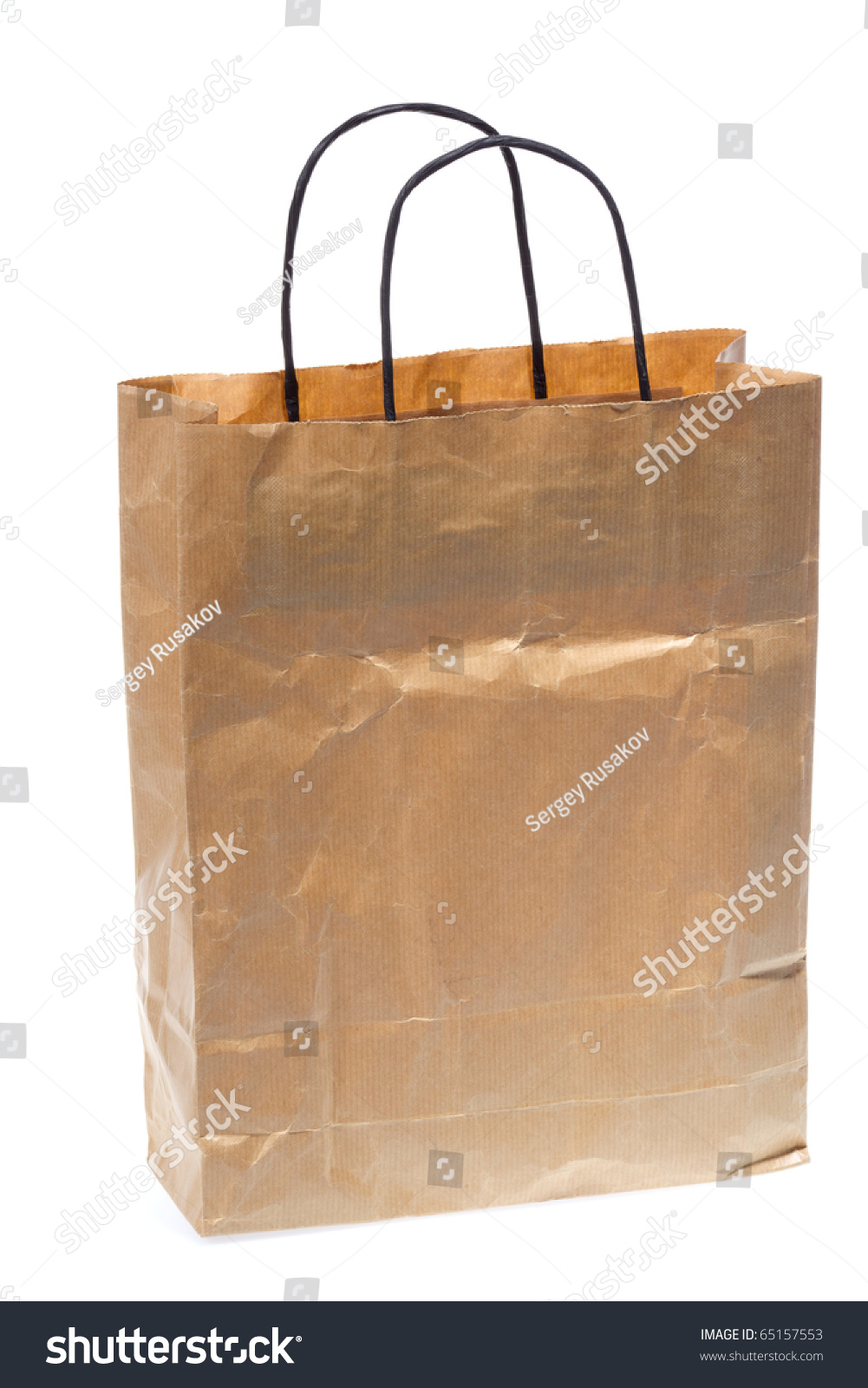 Paper Shopping Bag Black Handle Isolated Stock Photo ...