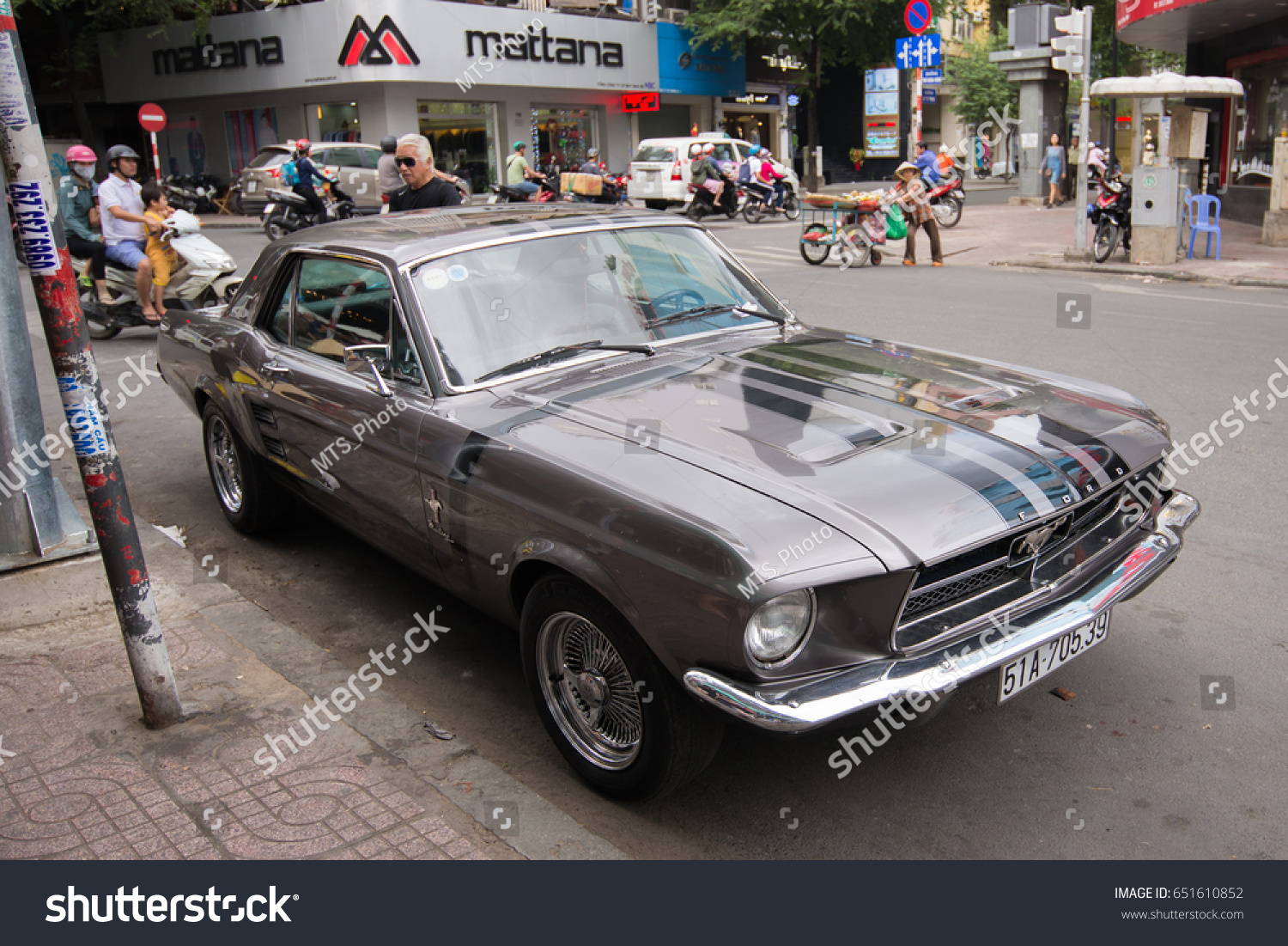 Ho chi minh vietnam january 02 2017 1967 ford mustang side view