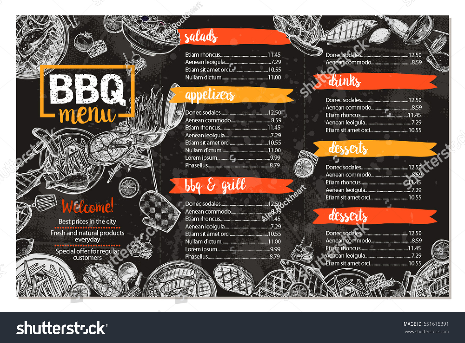 Barbecue restaurant menu template design bbq stock vector royalty barbecue restaurant menu template design of bbq brochure in sketch style on chalkboard maxwellsz