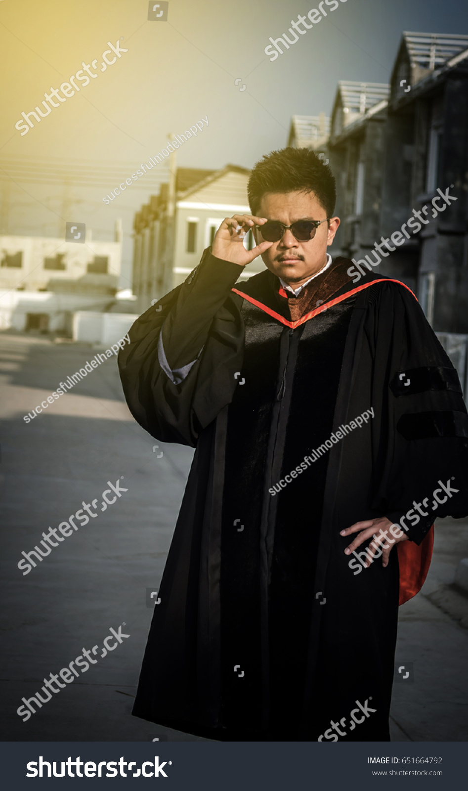 Young Men Graduation Gown Happy Have Stock Photo (Edit Now ...