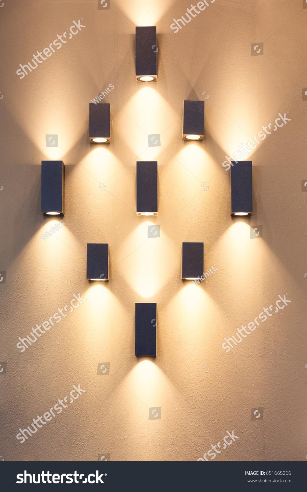 LED Decoration Lights Idea On Wall Stock Photo (Royalty Free ...