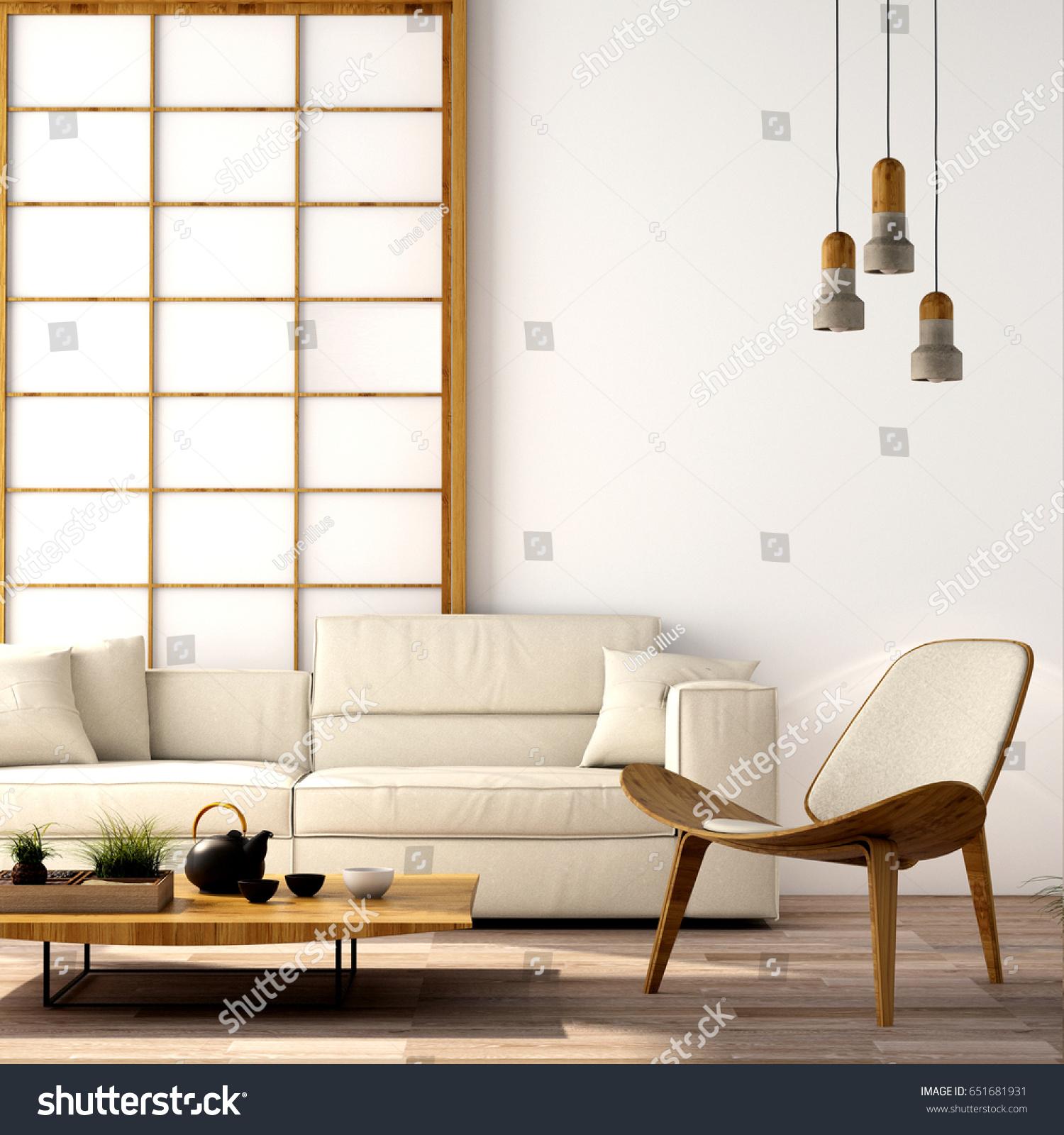 Interior Designmodern Living Room Sofaarmchairtablelampwood Floor ...