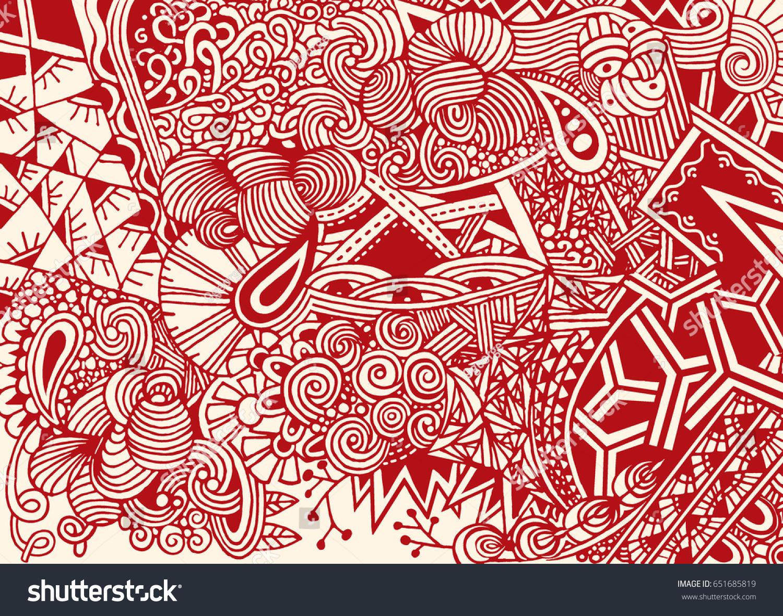 Doodle Background Vector Doodles Flowers Paisley Stock Vector ...