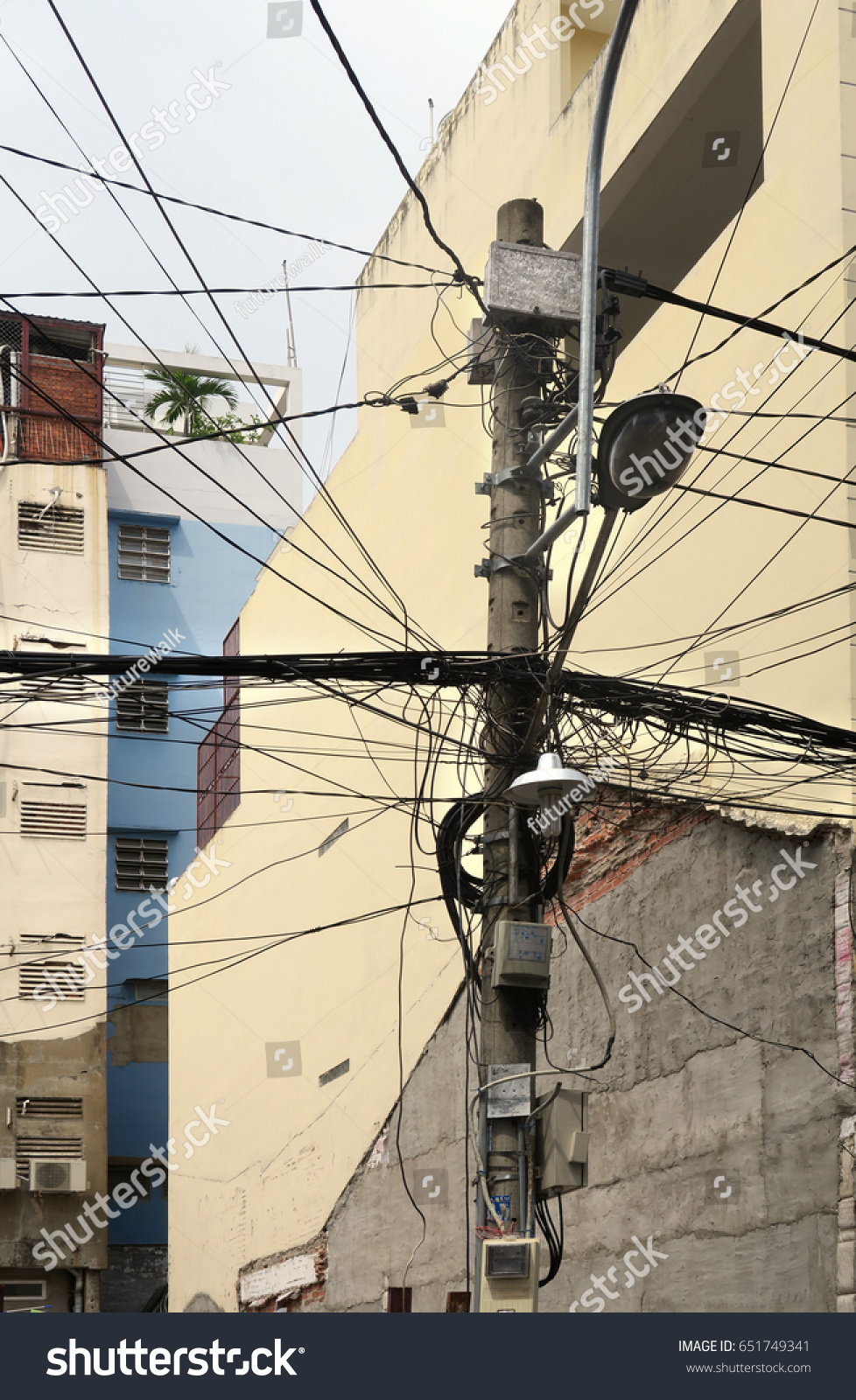 Residential Power Supply Tangled Wires On Stock Photo Edit Now Together With Telephone Wiring And Cable Home A Pole For Supplying Neighboring Apartment Buildings