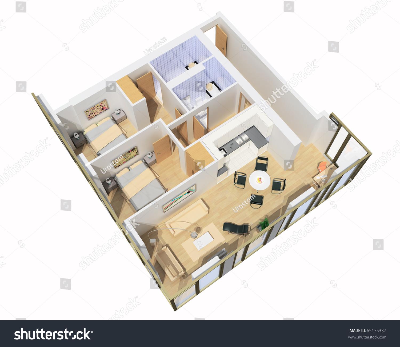 Interior Of Apartment. 3d Model