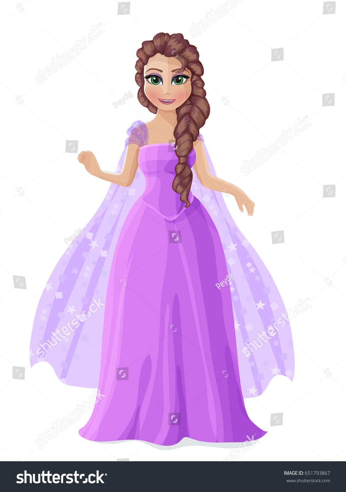 Illustration Cute Princess Purple Dress Brown Stock Vector