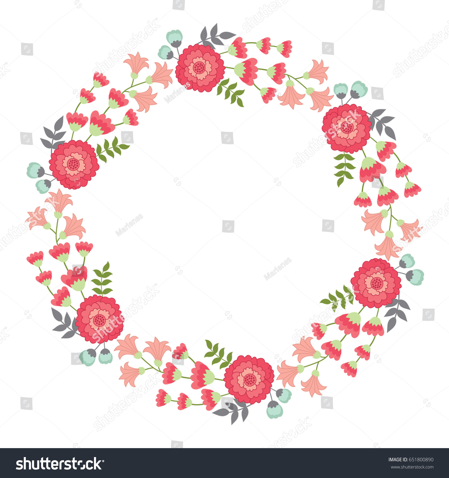 Vector Pink Floral Wreath Floral Wreath Stock Vector Royalty Free