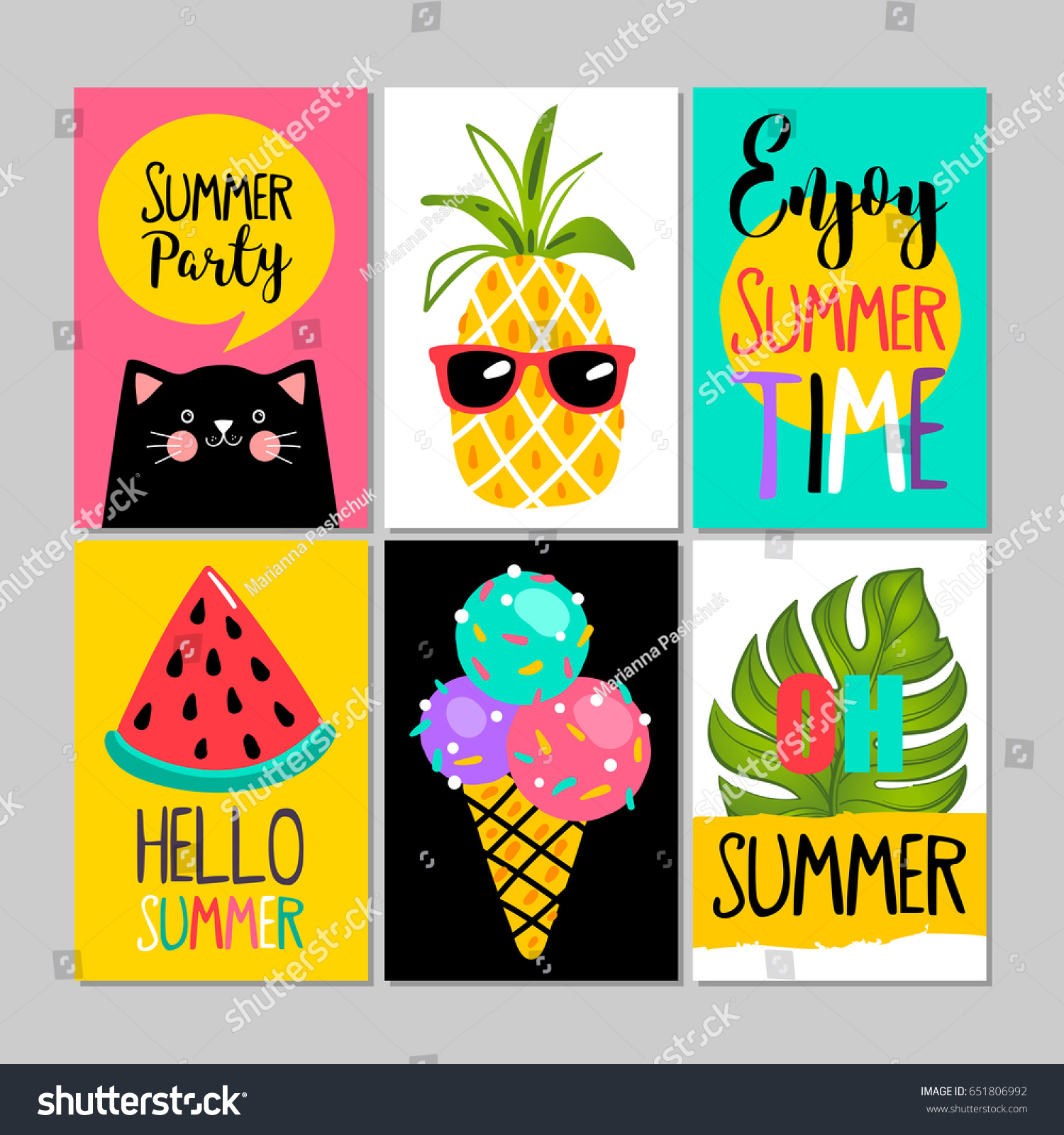 Set summer cards posters greeting card stock vector 651806992 set of summer cards posters greeting card vacation flyer vector illustrations kristyandbryce Image collections