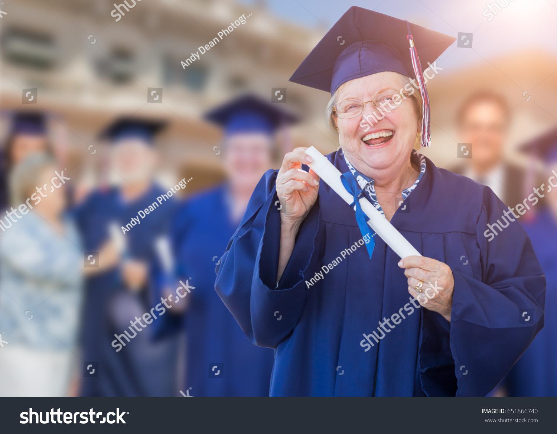 Happy Senior Adult Woman Cap Gown Stock Photo (Edit Now) 651866740 ...