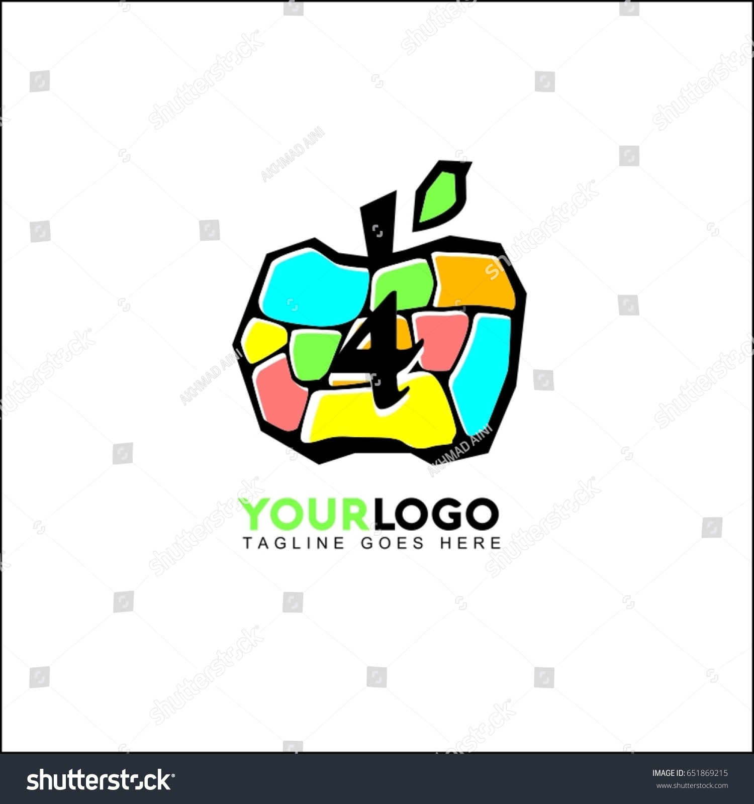4 Letter Fruit Vegetables Logo Fruit Stock Vector (Royalty Free