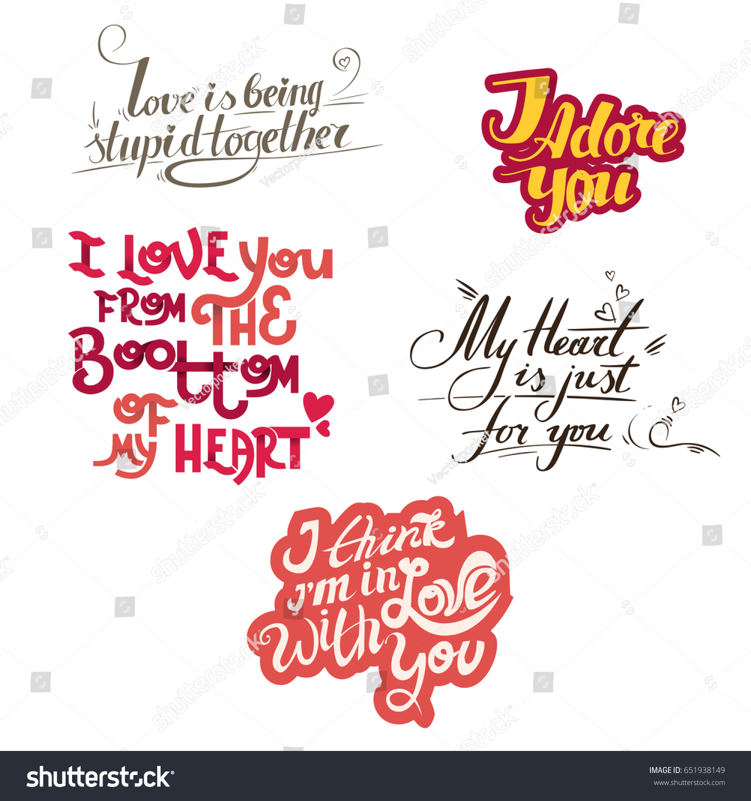 Lettering Collection Quotes About Love Hand Stock Illustration
