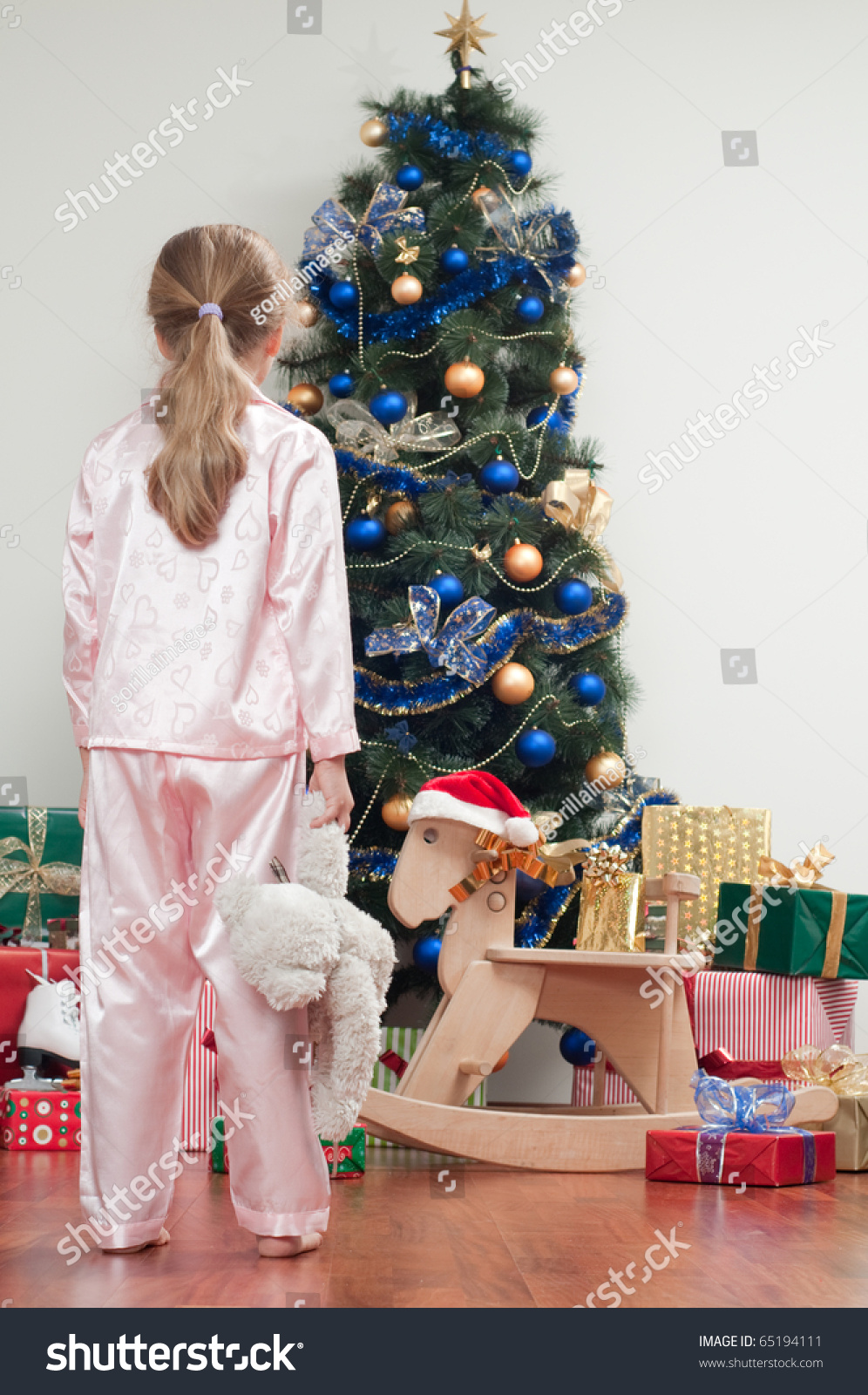 Little Girl In Pajamas At Christmas Morning Stock Photo 65194111 ...