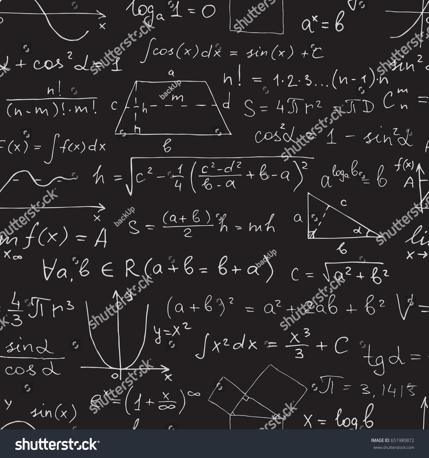 Vector Seamless Math Pattern Chalk Mathematical Stock Vector ...