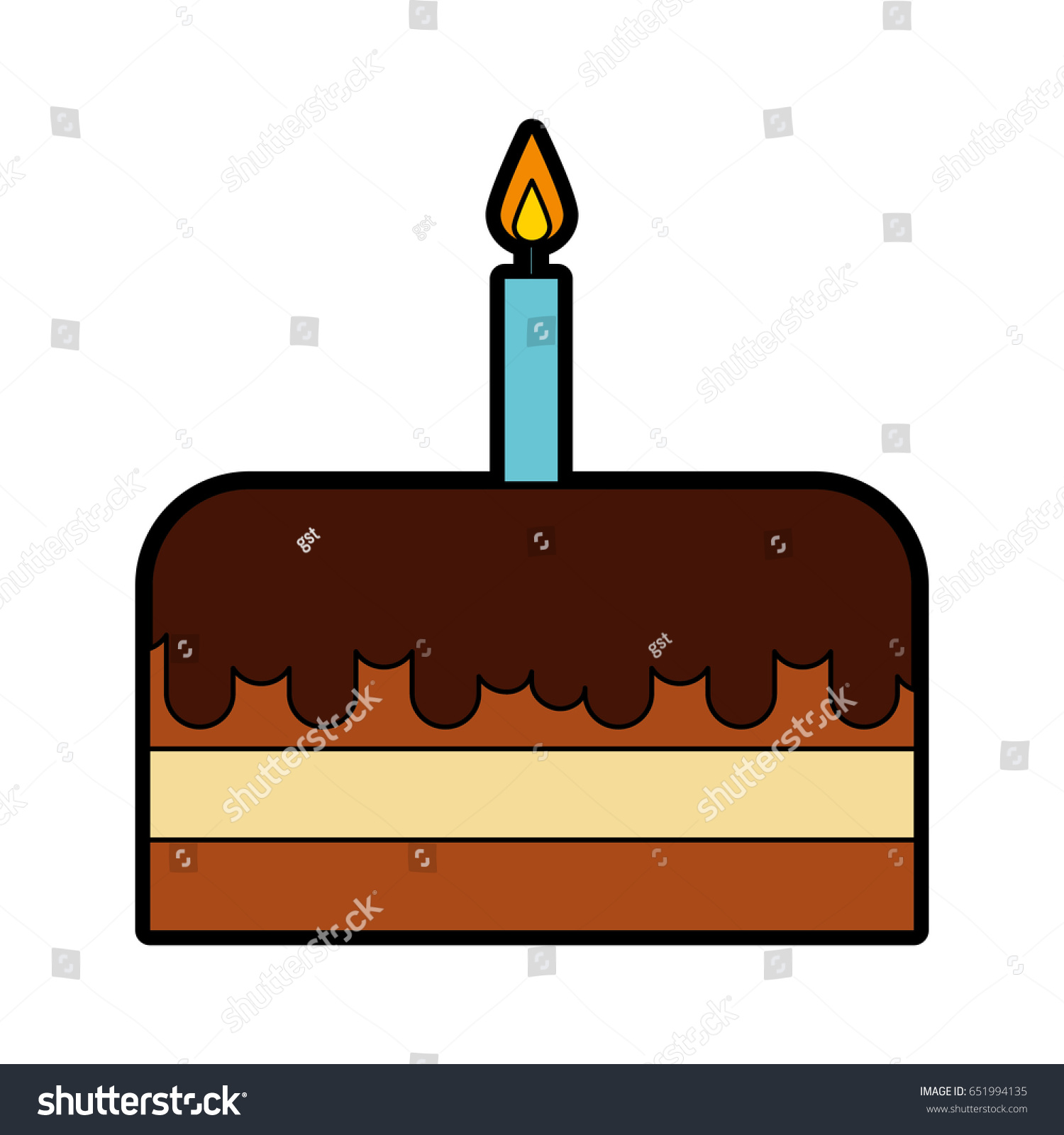 Cute Birthday Cake Cartoon Stock Vector 651994135 Shutterstock