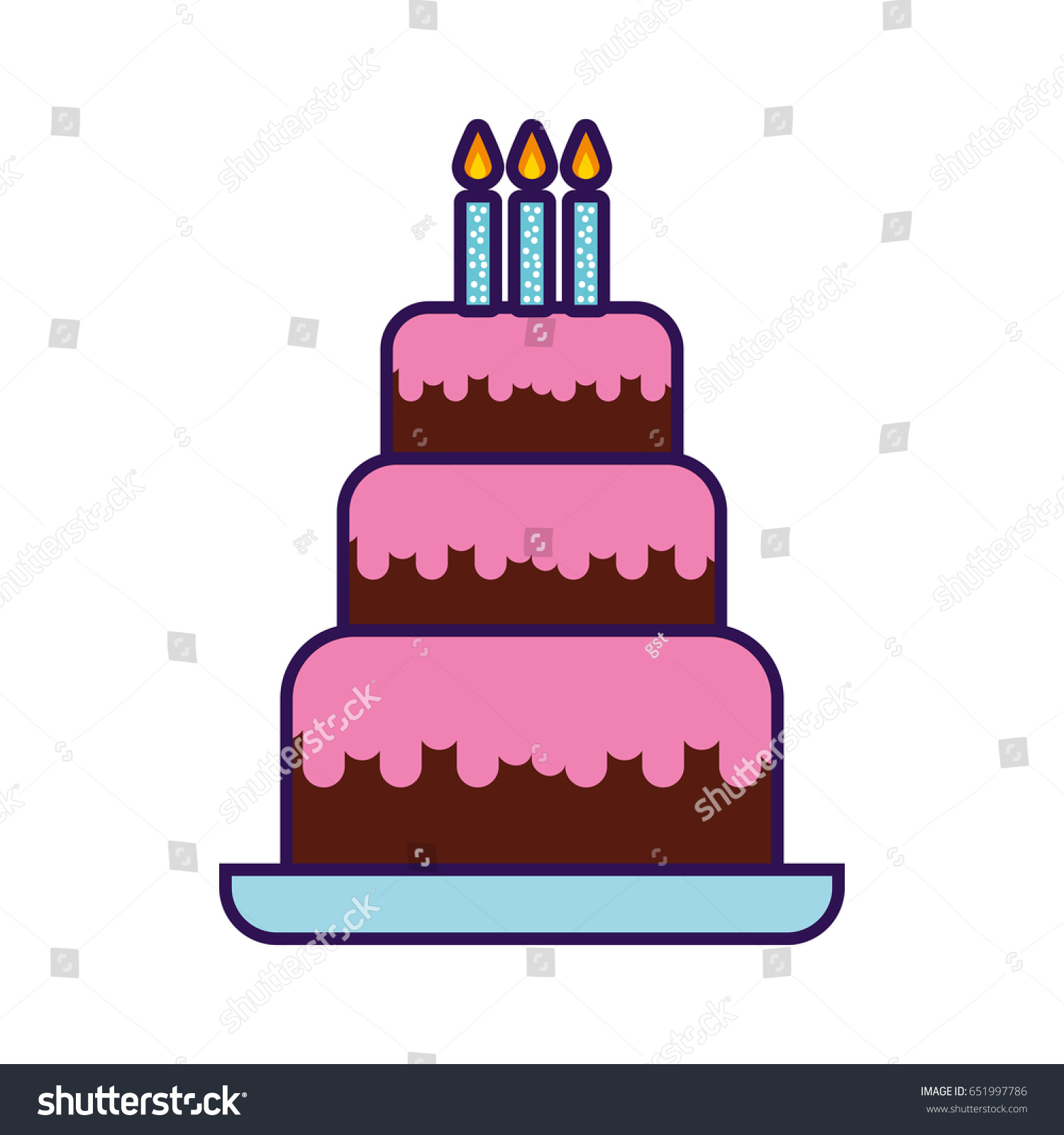 Stupendous Cute Birthday Cake Cartoon Stock Vector Royalty Free 651997786 Funny Birthday Cards Online Alyptdamsfinfo