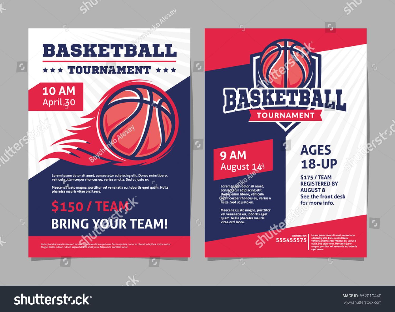 Basketball Tournament Posters Flyer Basketball Ball Stock ...