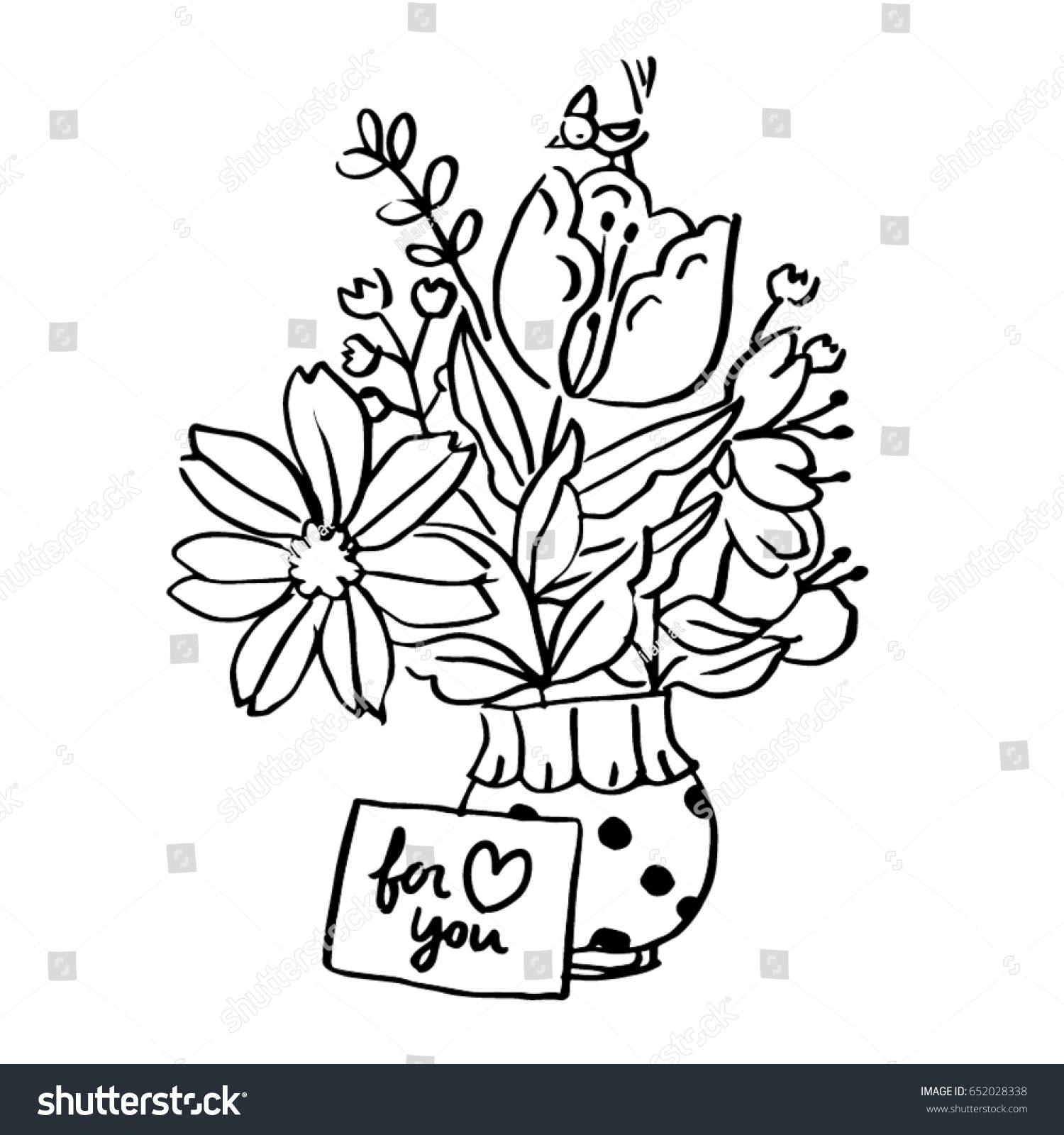 Black White Line Art Illustration Flower Stock Vector Royalty Free