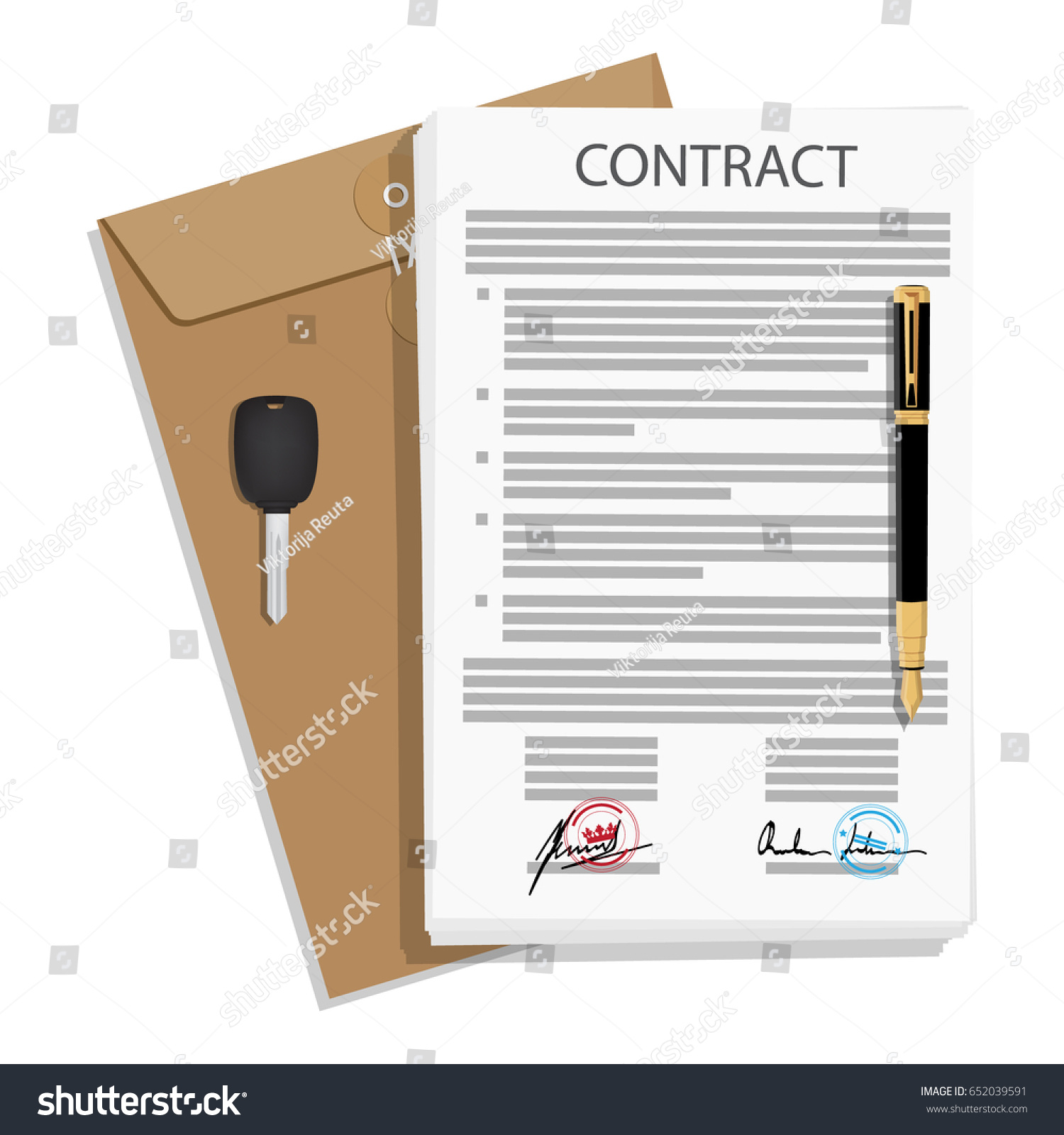 raster illustration signed business contract agreement stock