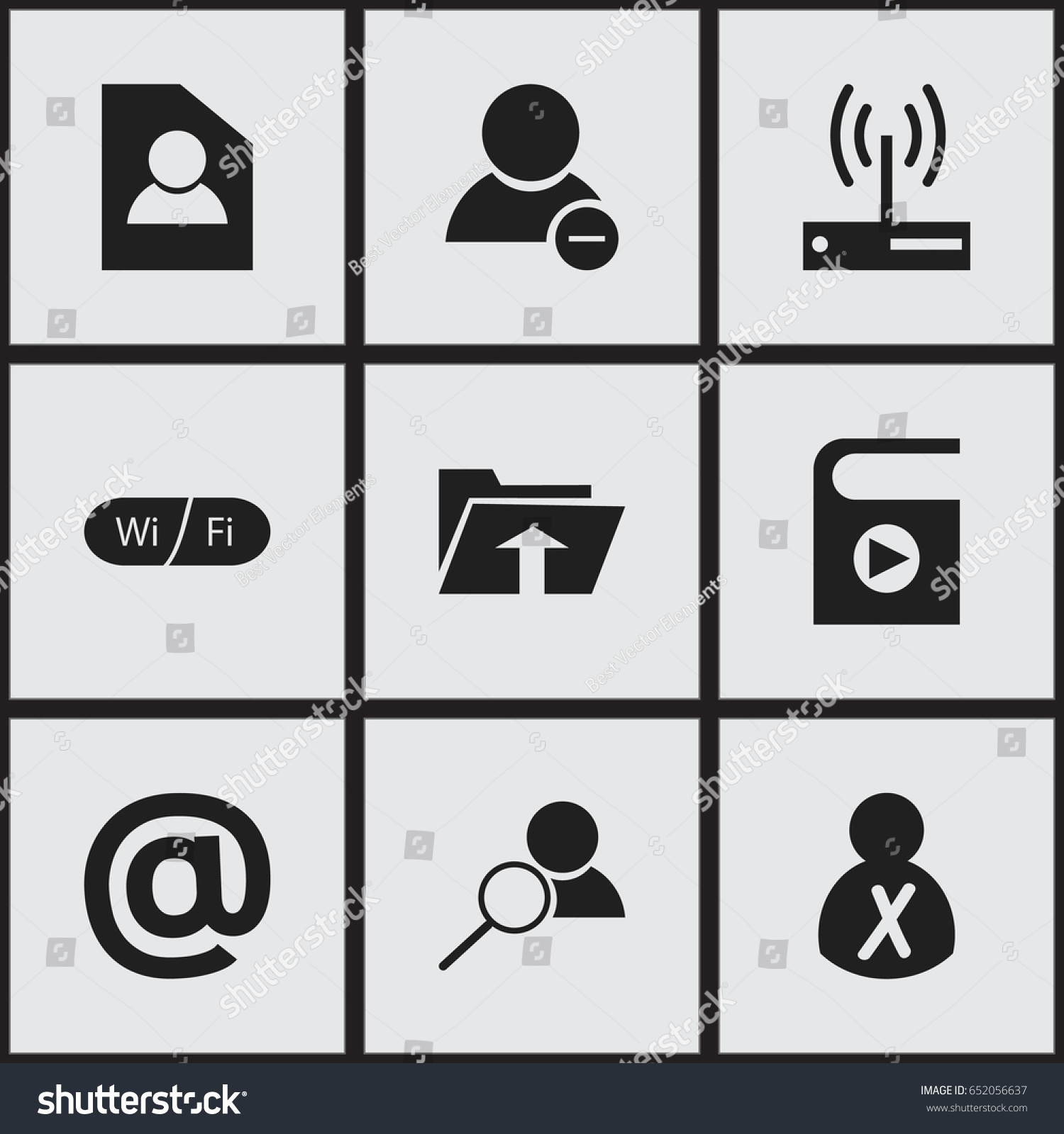 Set 9 editable internet icons includes stock vector 652056637 set of 9 editable internet icons includes symbols such as song list wifi biocorpaavc