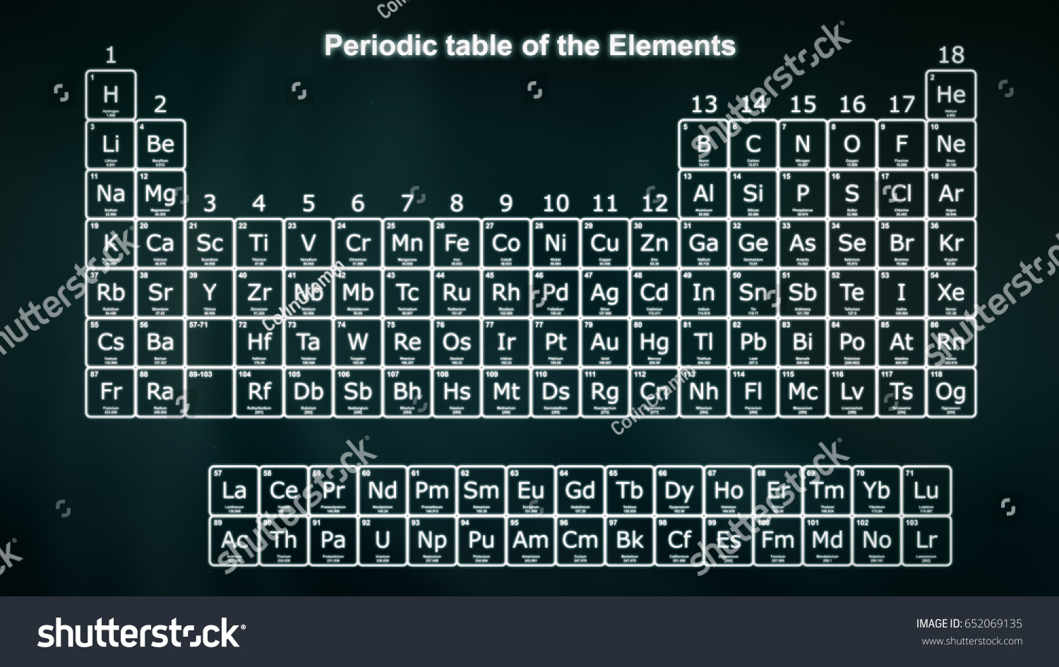 Periodic table elements white on dark stock illustration 652069135 periodic table of the elements in white on a dark green background modern version of gamestrikefo Images