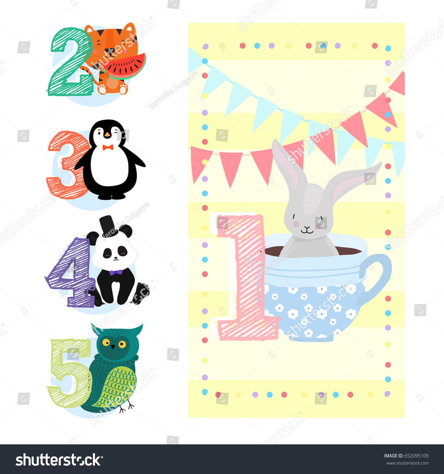 Happy Birthday Invitation Template One Year Stock Vector 652095109 ...