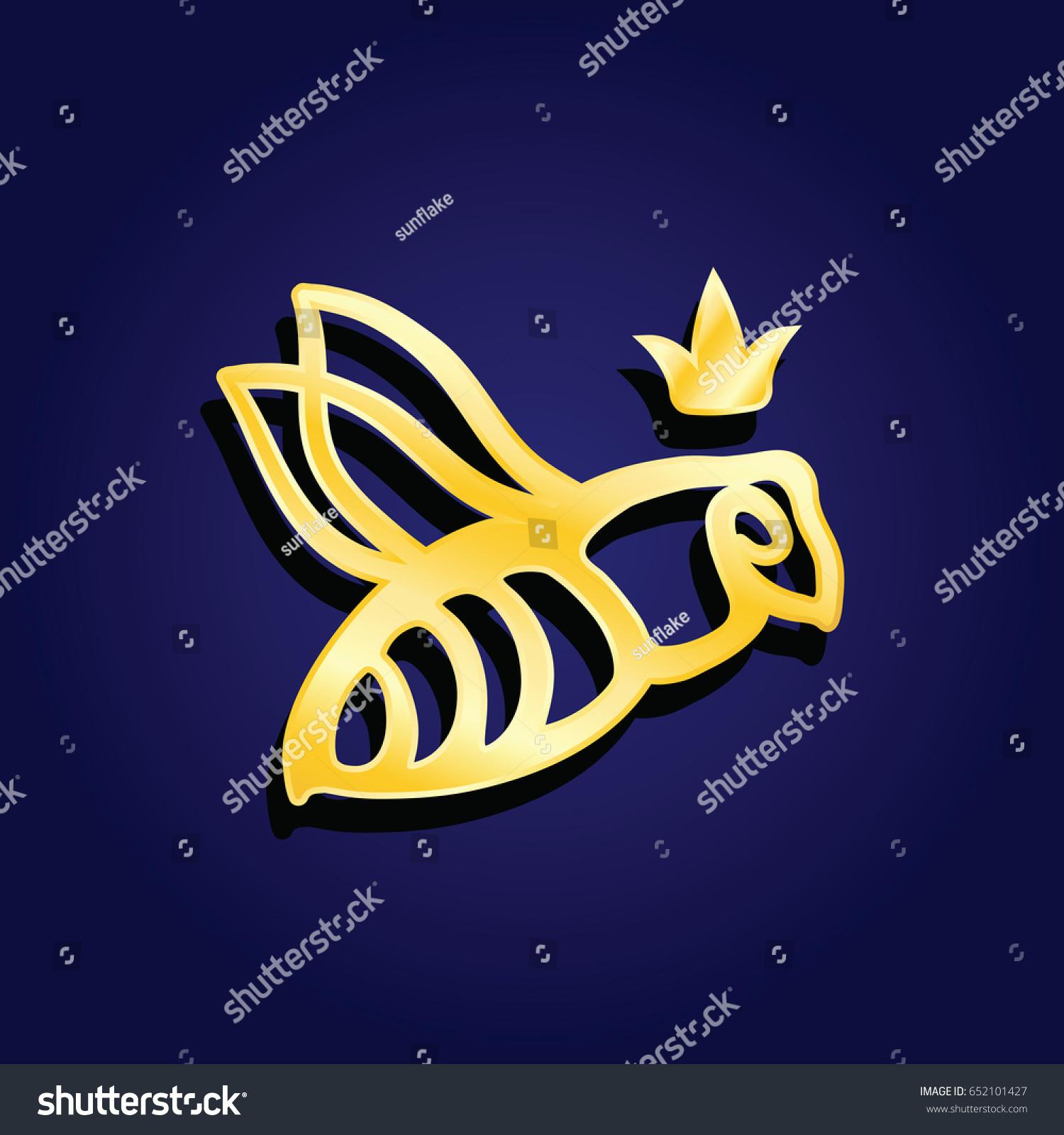 Vector Logotype Golden Bee Queen Logo Stock Vector Royalty Free