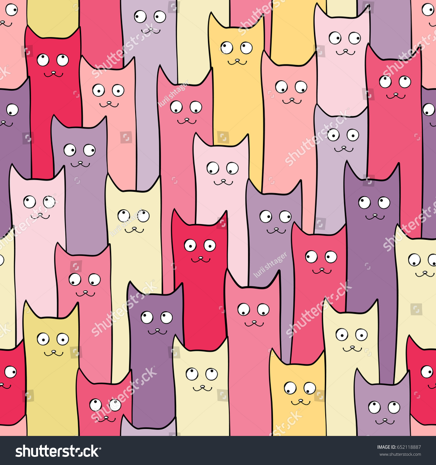 Abstract Seamless Pattern Cute Cats Girls Stock Vector
