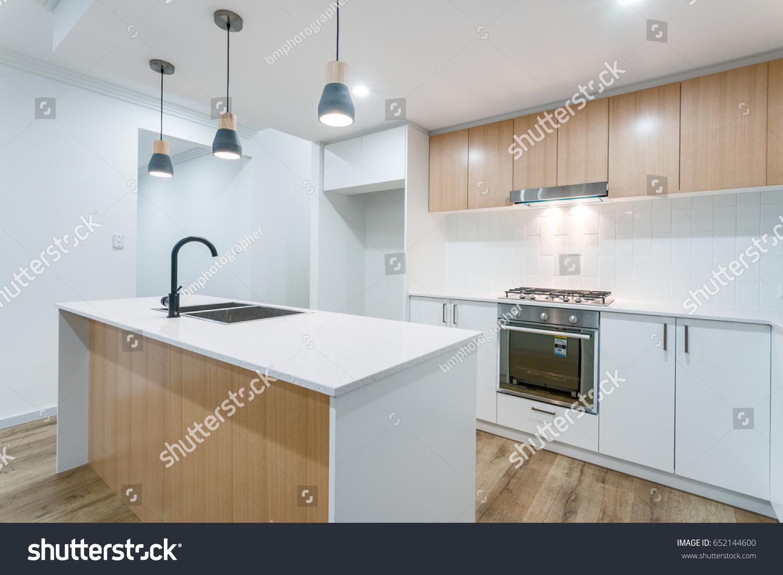 Modern Scandinavian Kitchen Interior Design Stone Stock Photo ...
