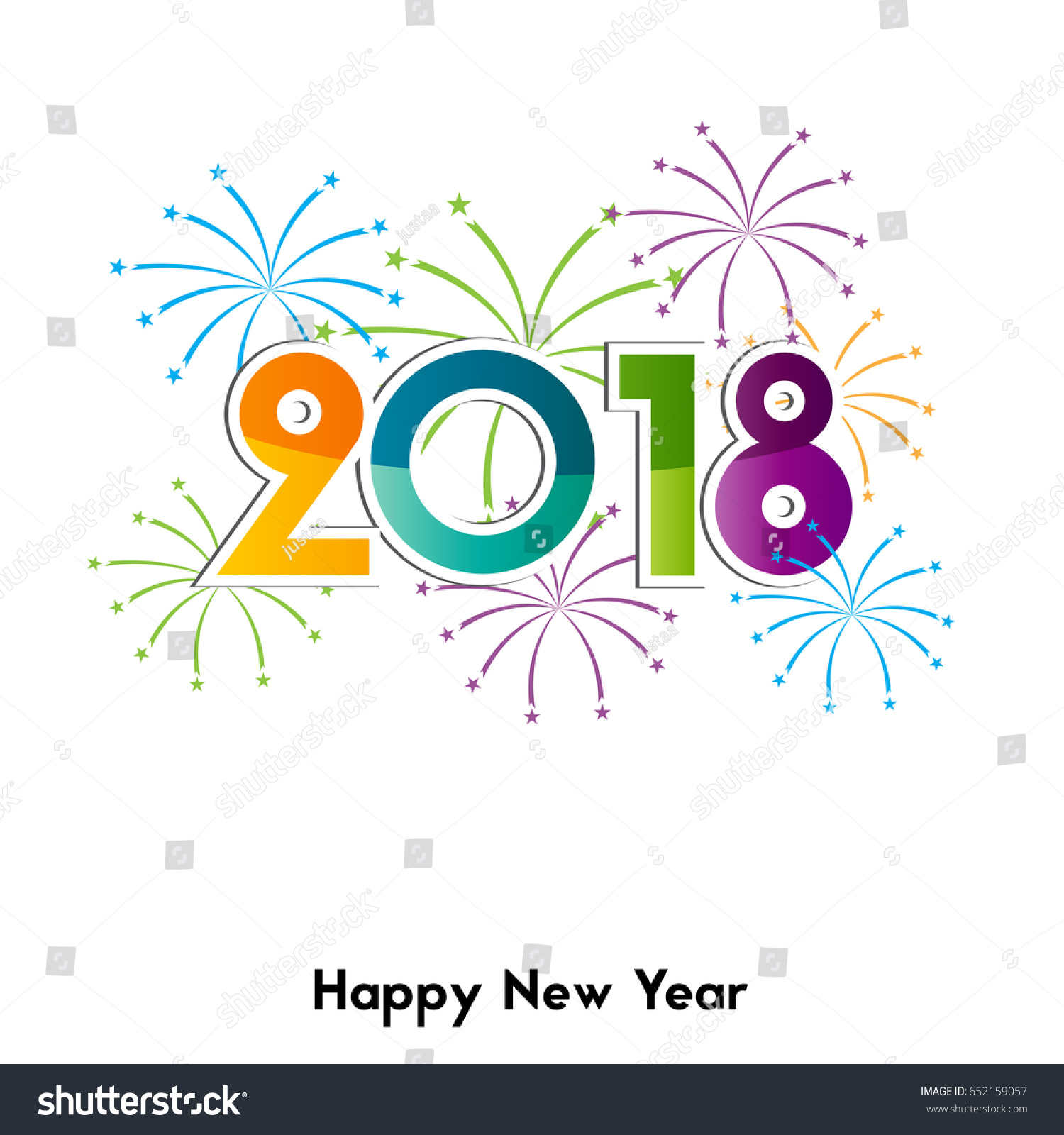 happy new year 2018 background or element of a holidays card colorful fireworks
