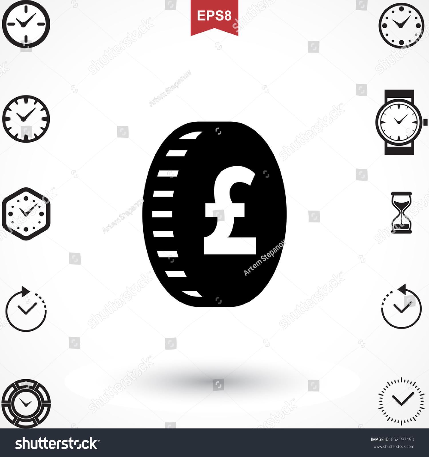Money Pound Icon Flat Sign National Stock Photo Photo Vector