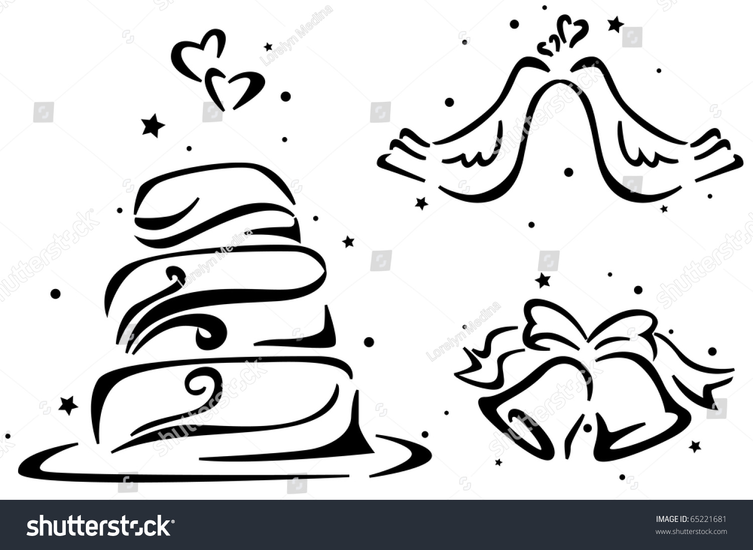 Wedding Stencil Featuring A Wedding Cake Wedding Bells And A Pair Of
