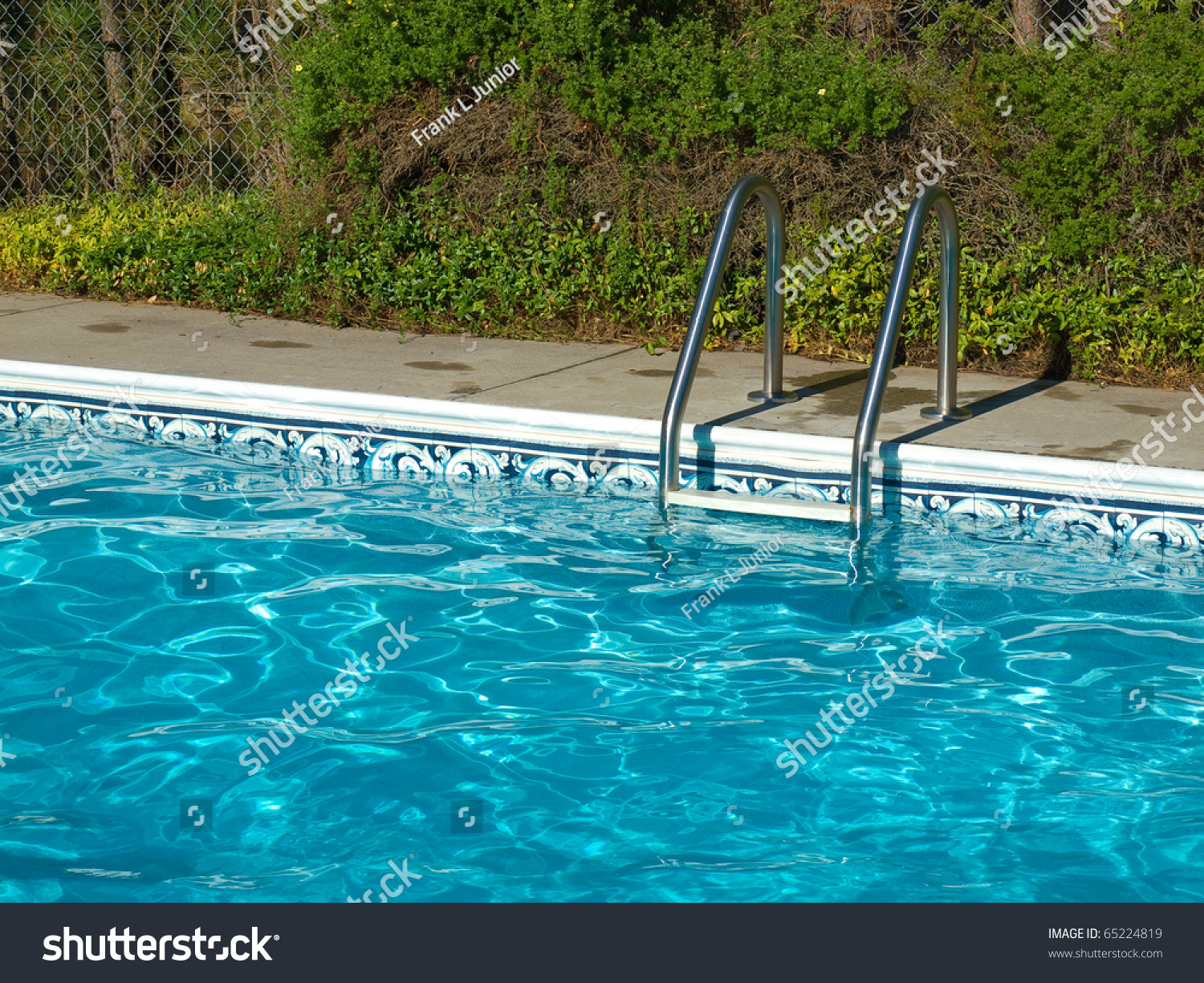 Blue Swimming Pool Water Ladder And Pool Edge In Full Sunlight Stock Photo 65224819 Shutterstock