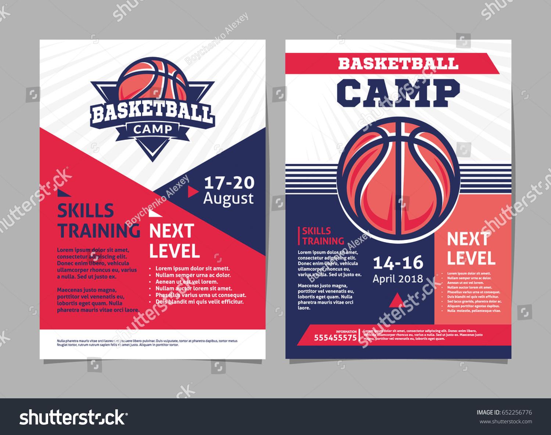 Basketball Camp Posters Flyer Basketball Ball Stock Vector 652256776 ...