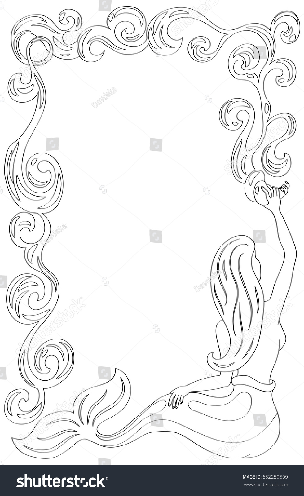 Mermaid Frame Water Flow Mermaid Coloring Stock Vector 652259509 ...