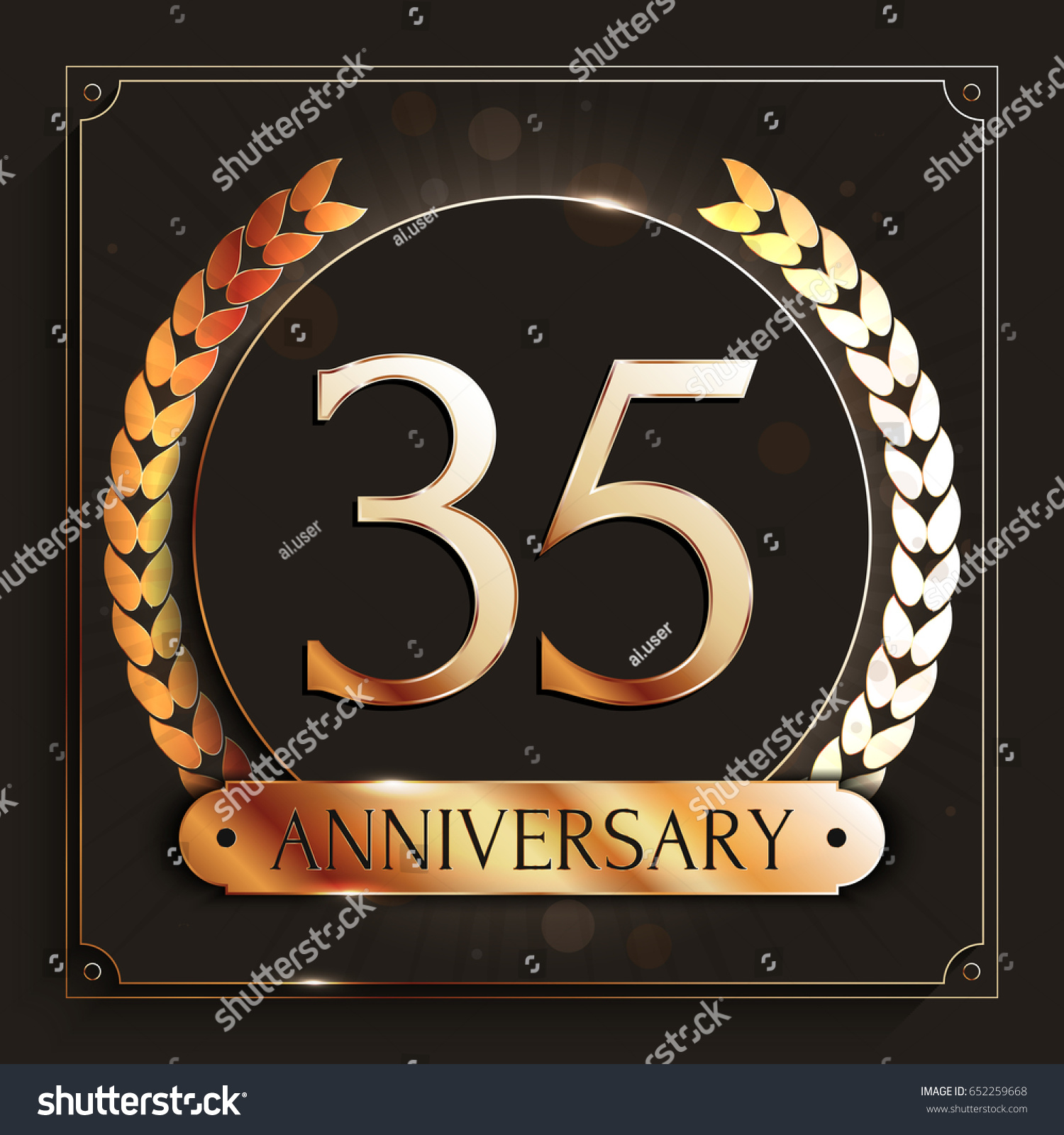 Years anniversary gold banner on stock vector