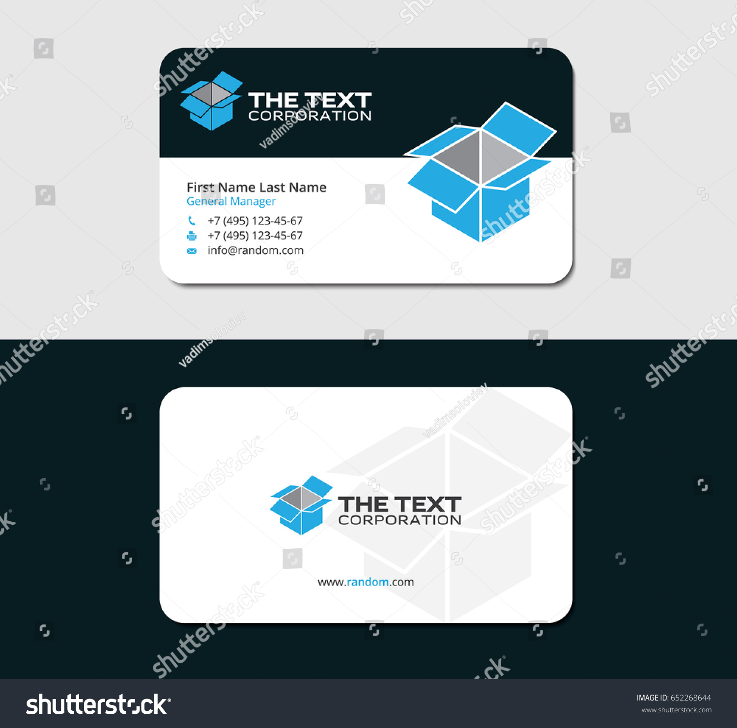 drop shipping business card template blue stock vector