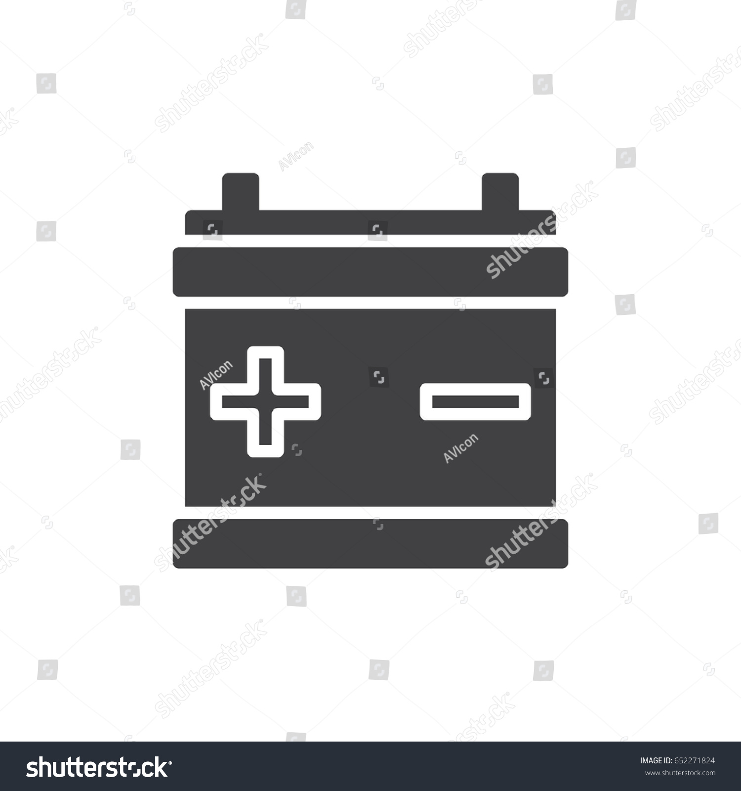 Car Battery Icon Vector Filled Flat Stock Vector 652271824 ... for Car Battery Symbol  35fsj