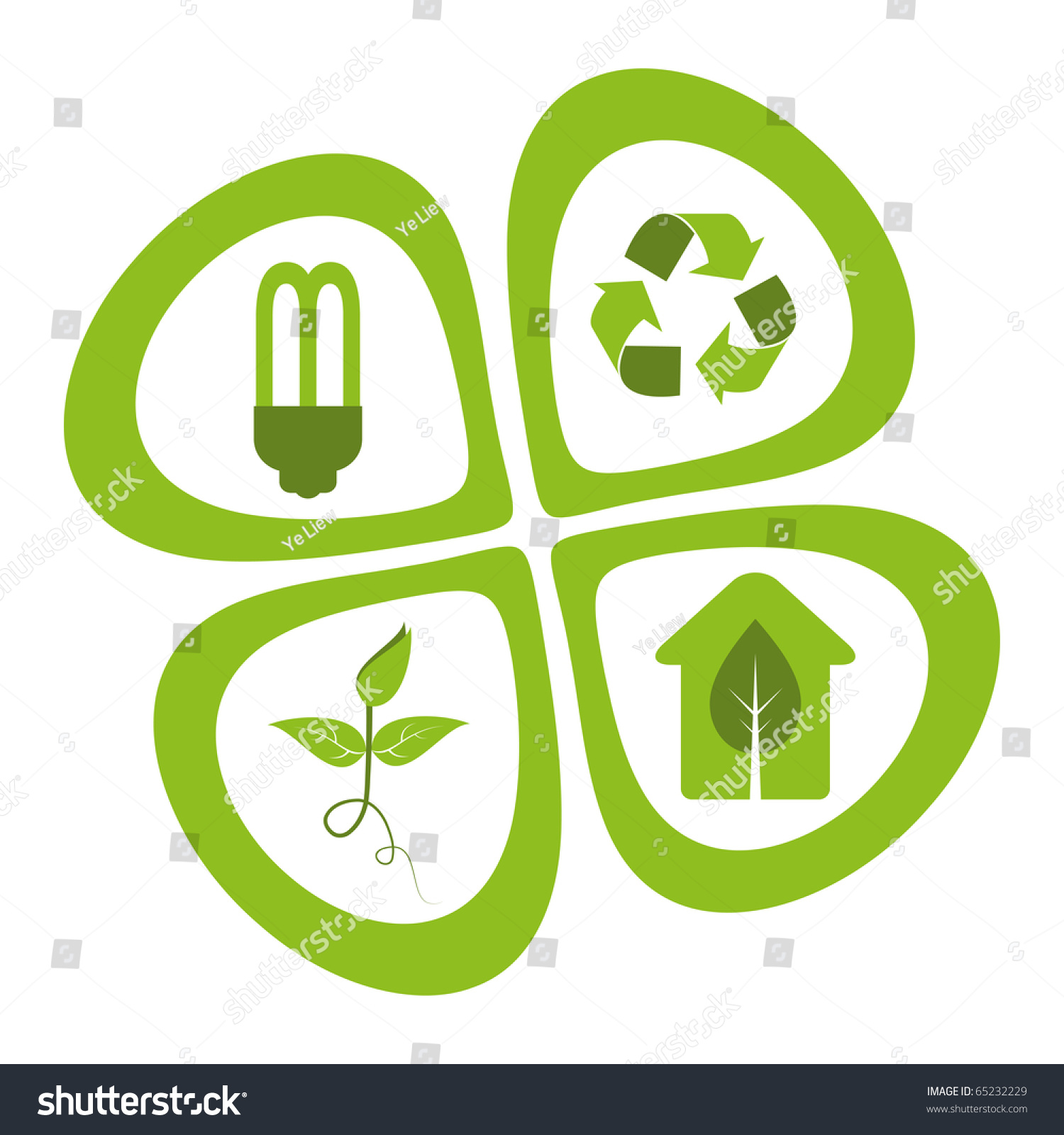 green eco friendly design elements energy saving light
