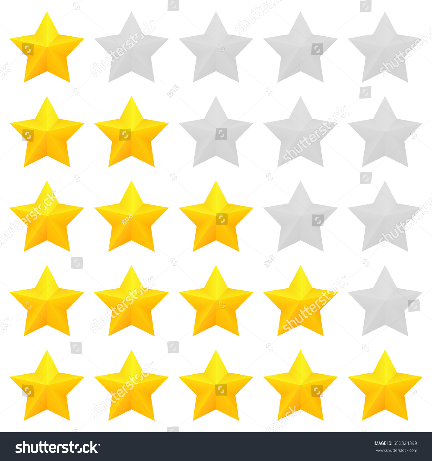 Five Star Rating Different Ranks One Stock Vector Royalty Free