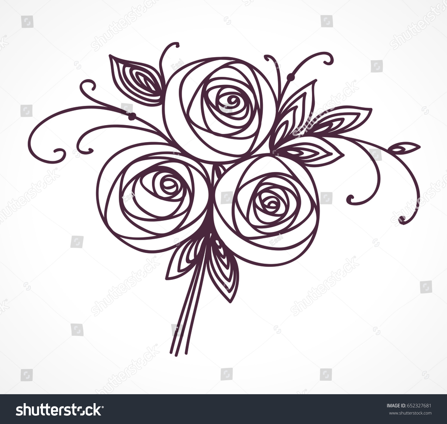 Flower bouquet stylized roses hand drawing stock vector royalty flower bouquet stylized roses hand drawing outline icon symbol present for wedding izmirmasajfo