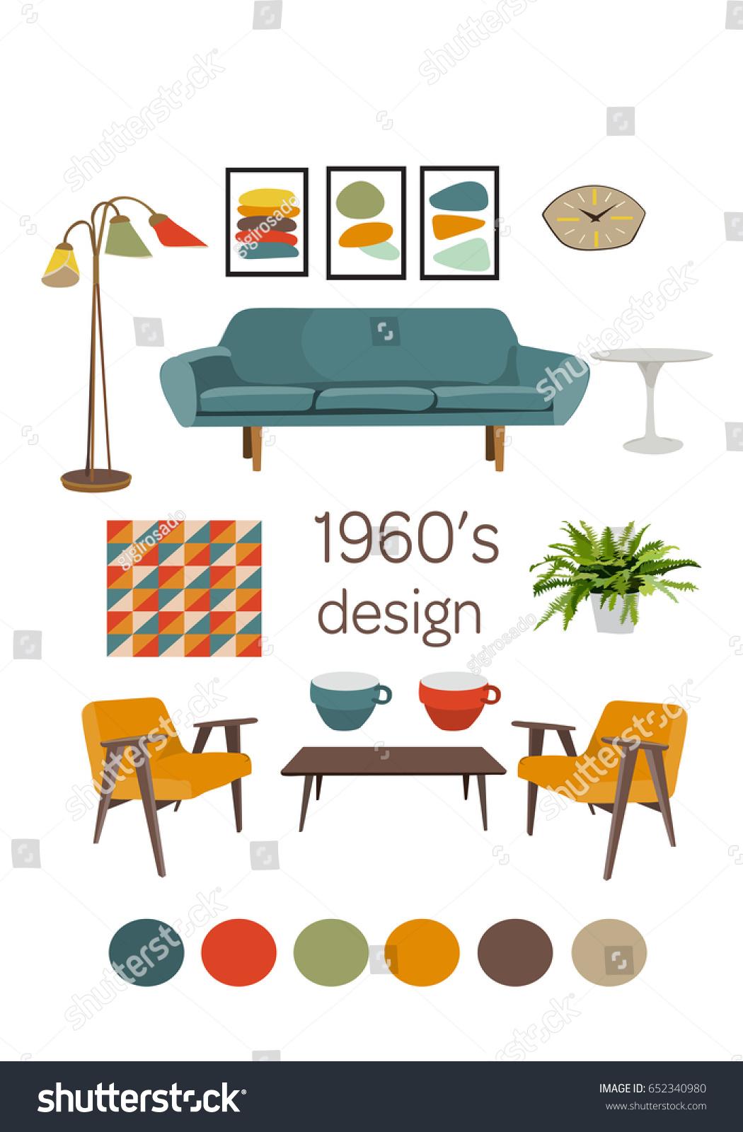 Interior design 1960 mid century modern furniture vector elements set mood board of