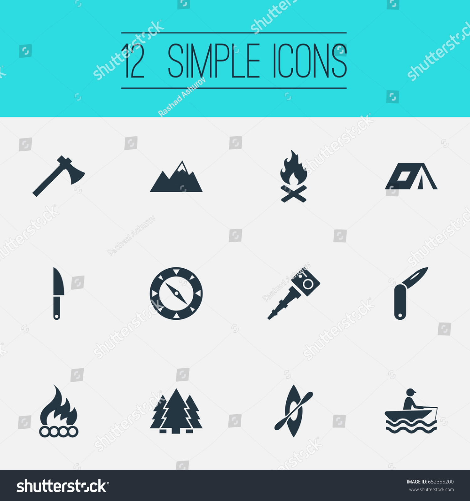 Vector Illustration Set Simple Camp Icons Stock Vector