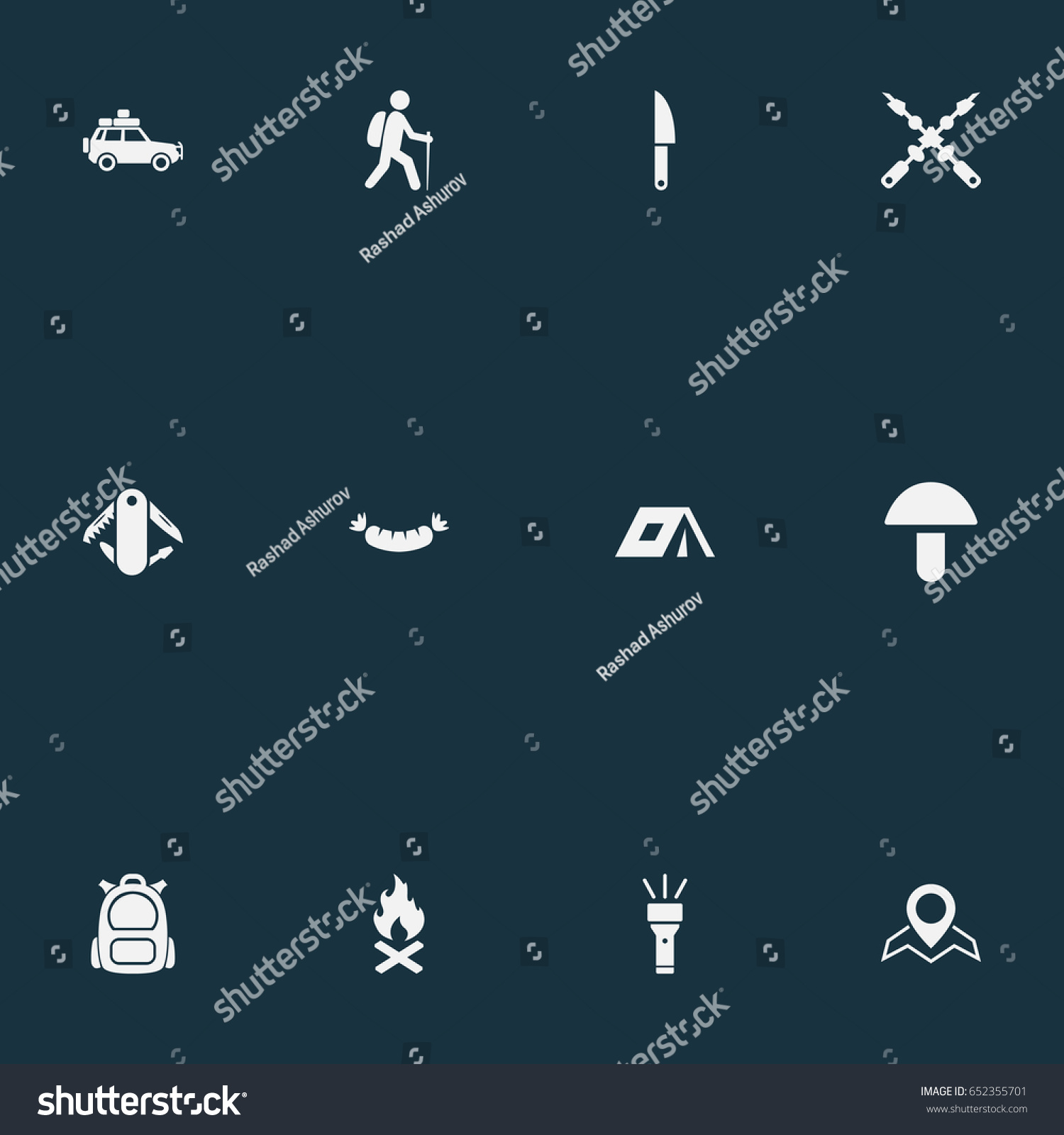 Vector Illustration Set Of Simple Outdoor Icons. Elements Car Tour Location Flashlight And  sc 1 st  Shutterstock & Vector Illustration Set Simple Outdoor Icons Stock Vector ...